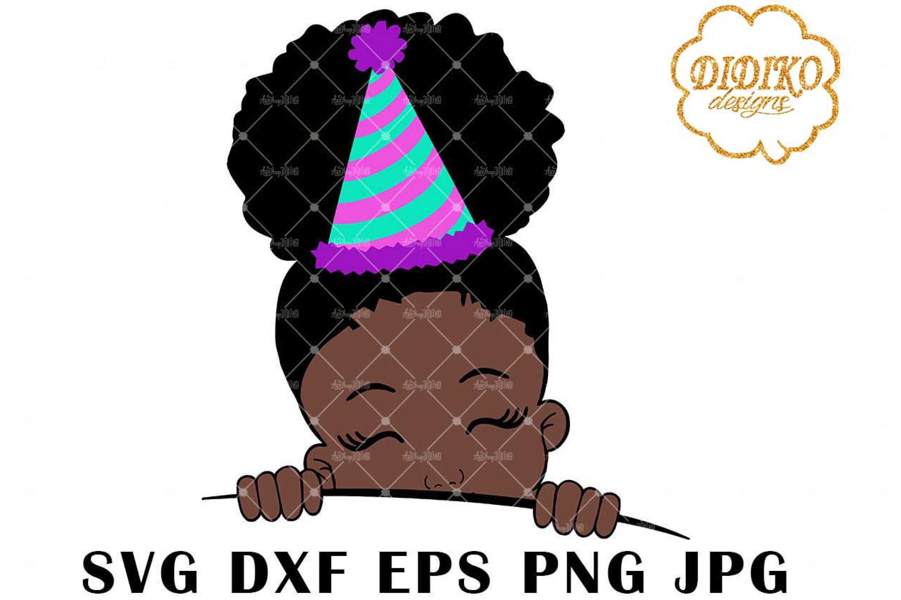 Afro Birthday Girl Peek A Boo 2 SVG, Afro Puff SVG