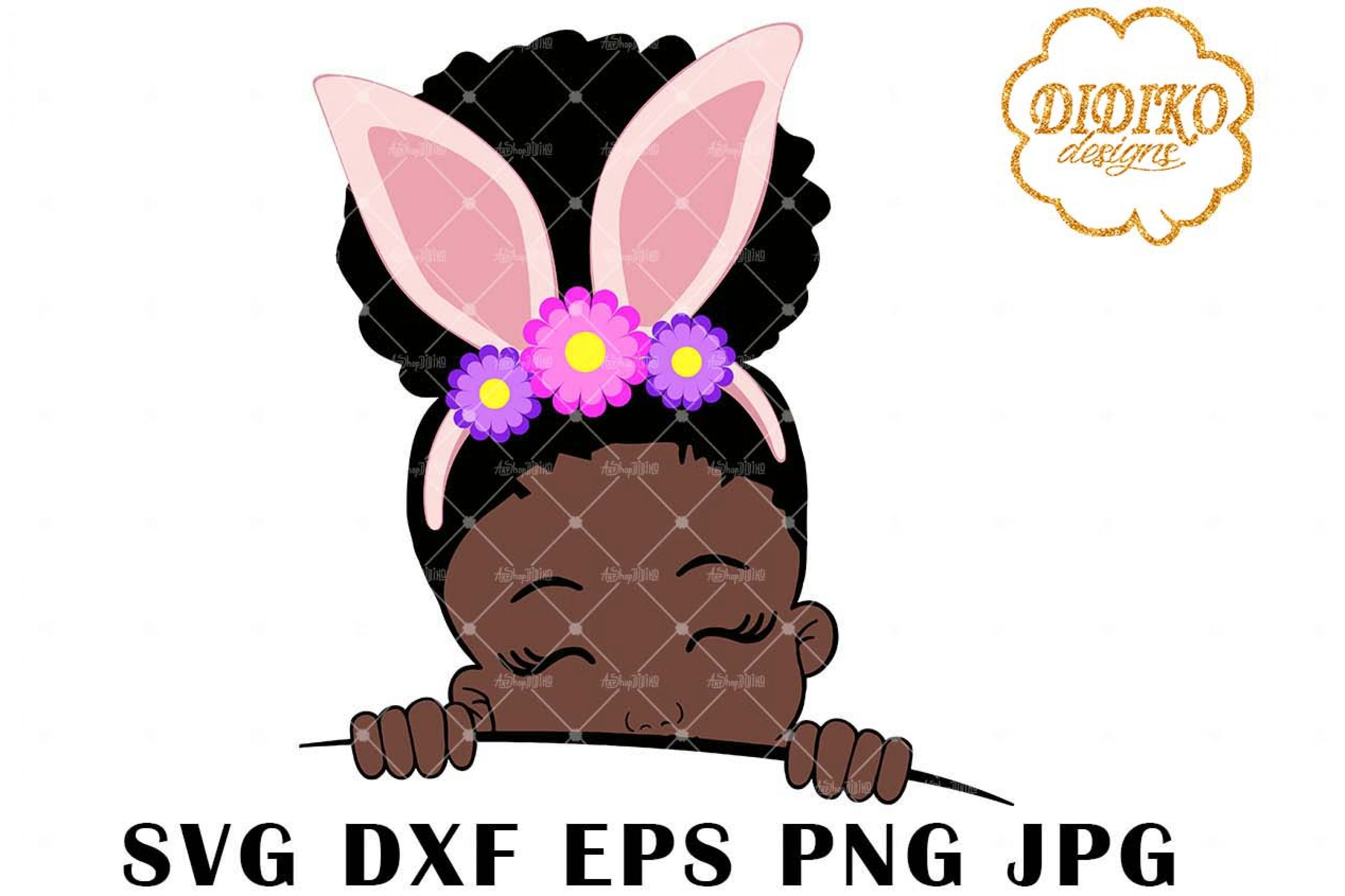 Afro Easter Girl Peek A Boo 2 SVG, Afro Puff SVG