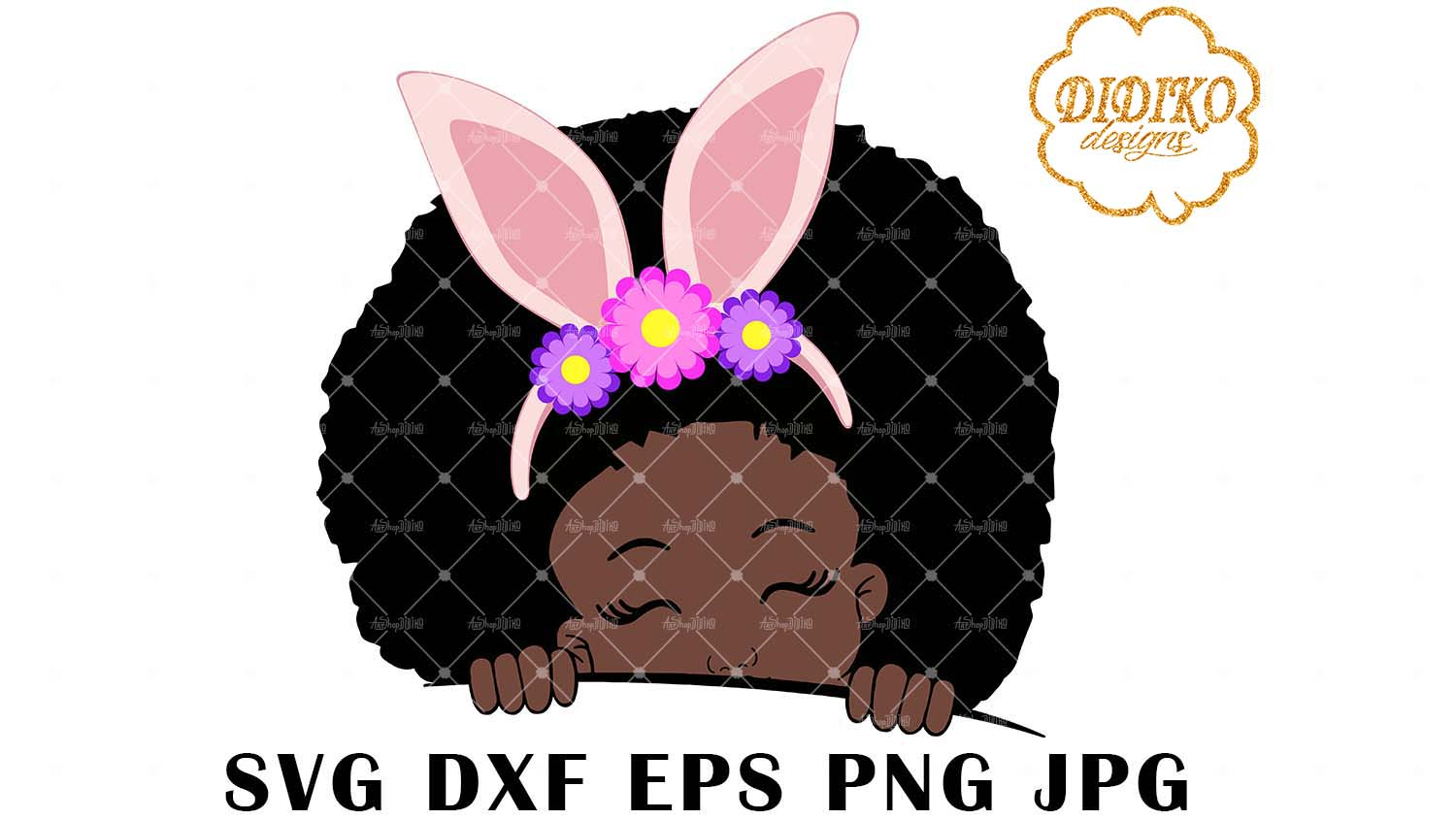 DIDIKO designs Afro Girl Easter Peek a Boo SVG