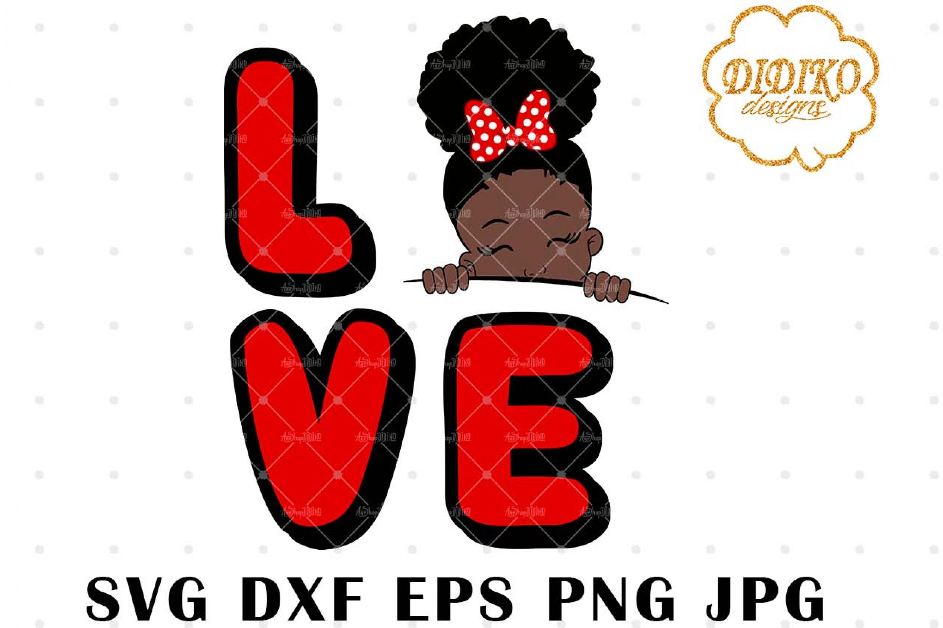 Afro Love Girl Peek A Boo 2 SVG, Afro Puff Girl SVG