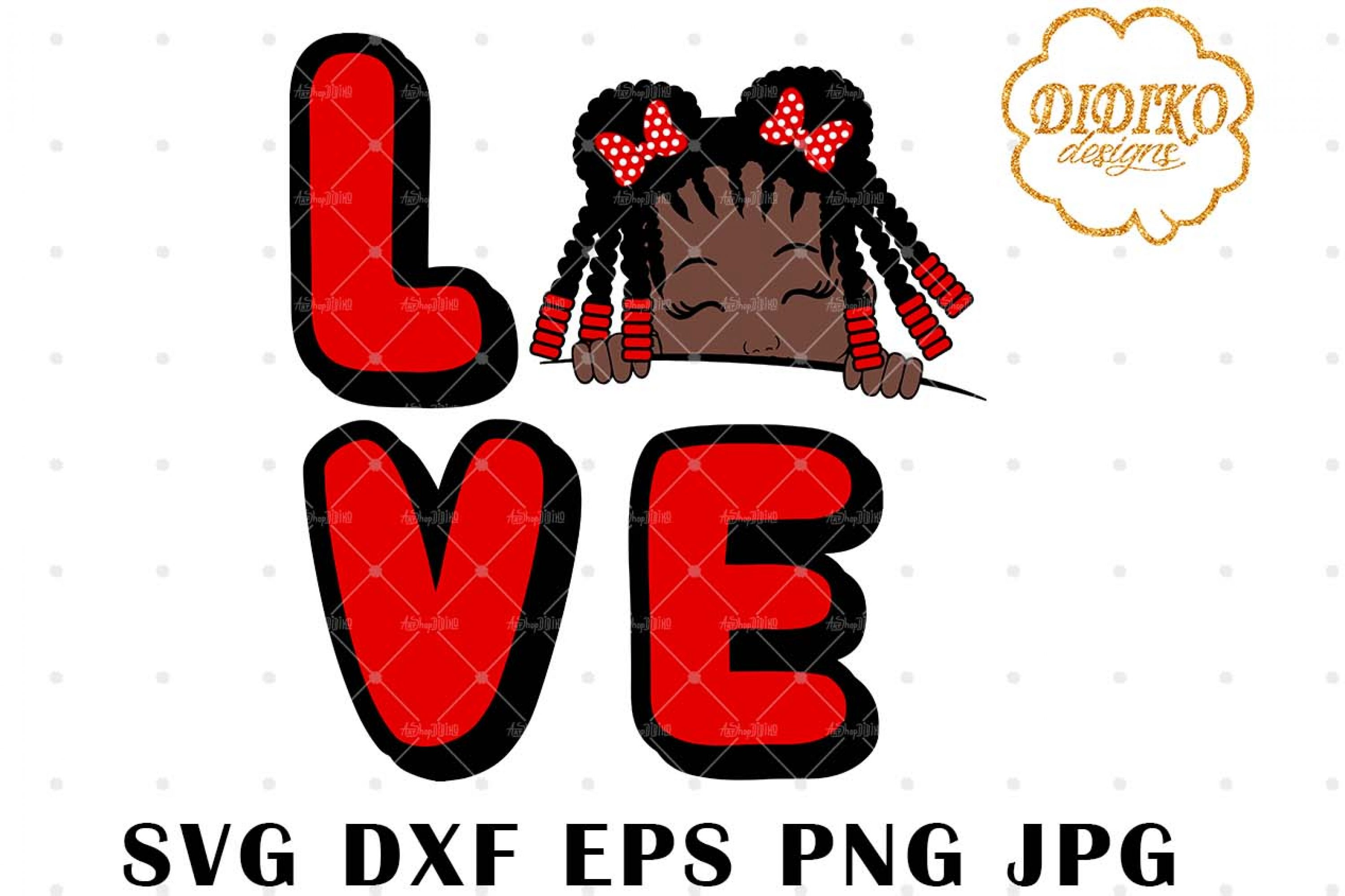 Afro Love Girl Peek A Boo 4 SVG, Afro Puff Girl SVG
