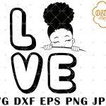 Afro Love Girl Peek A Boo 6 svg, Afro Girl Silhouette svg