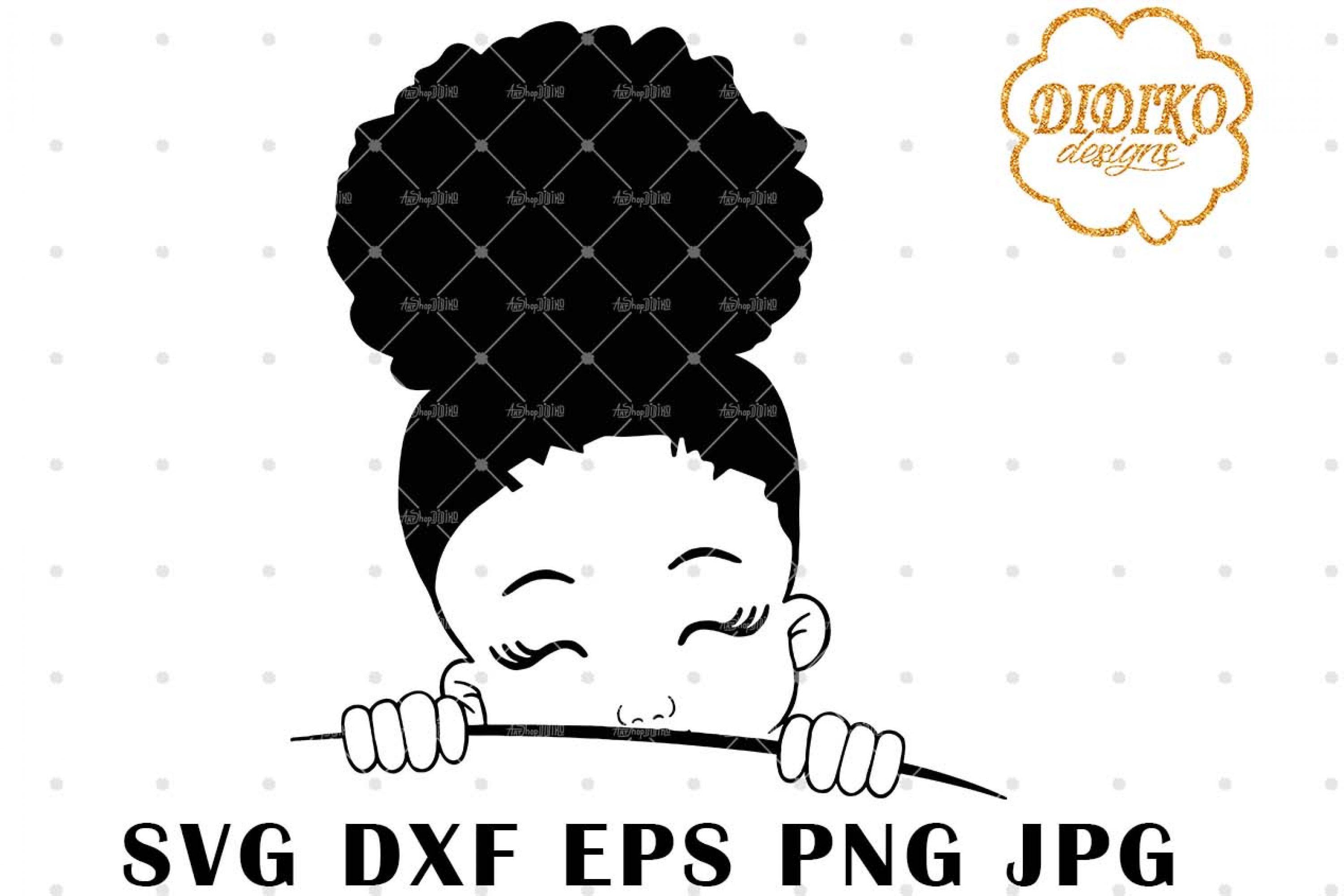 Afro Girl Peek A Boo 6 SVG, Afro Girl Silhouette SVG