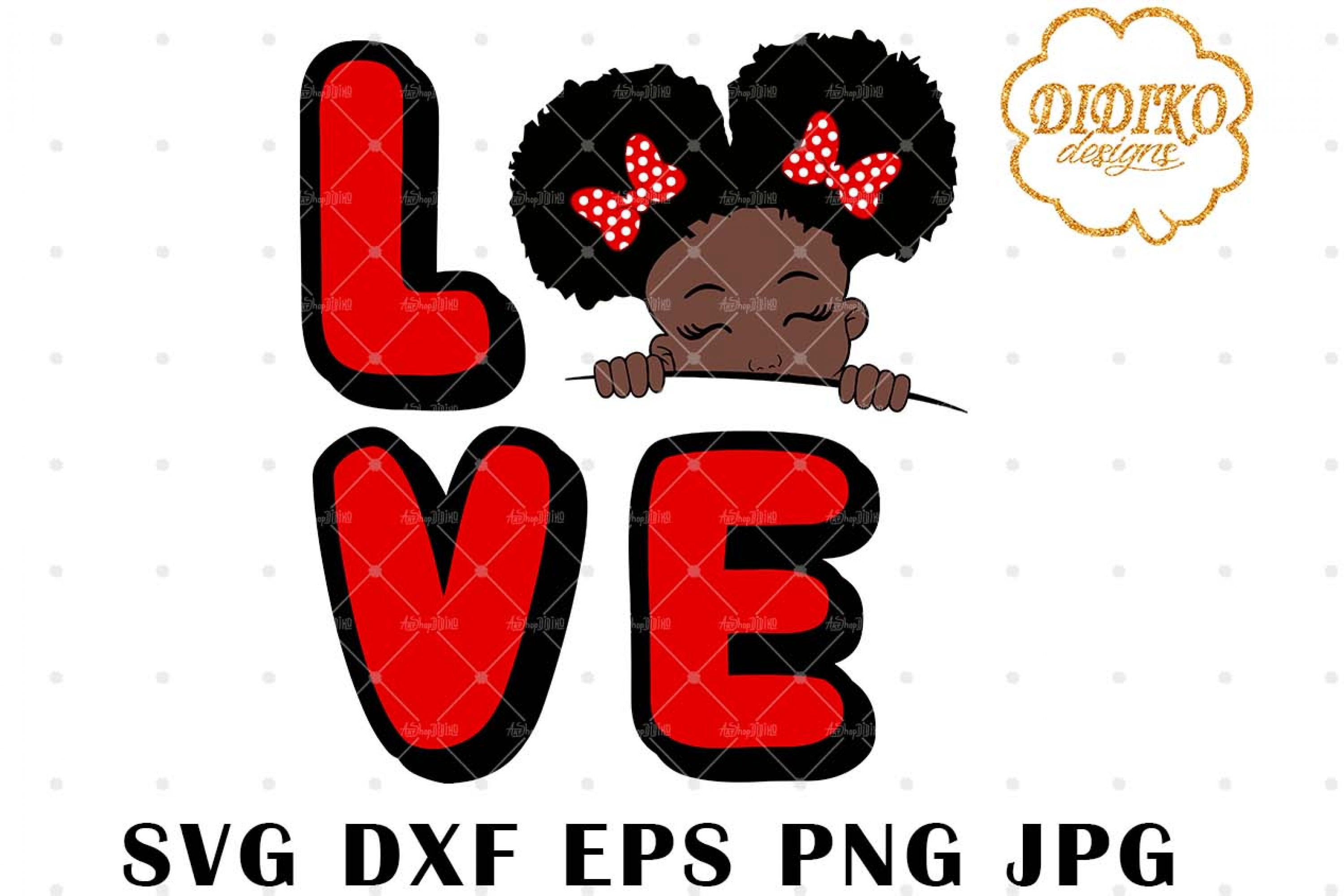 Afro Love Girl Peek A Boo 1 SVG, Afro Puff Girl SVG