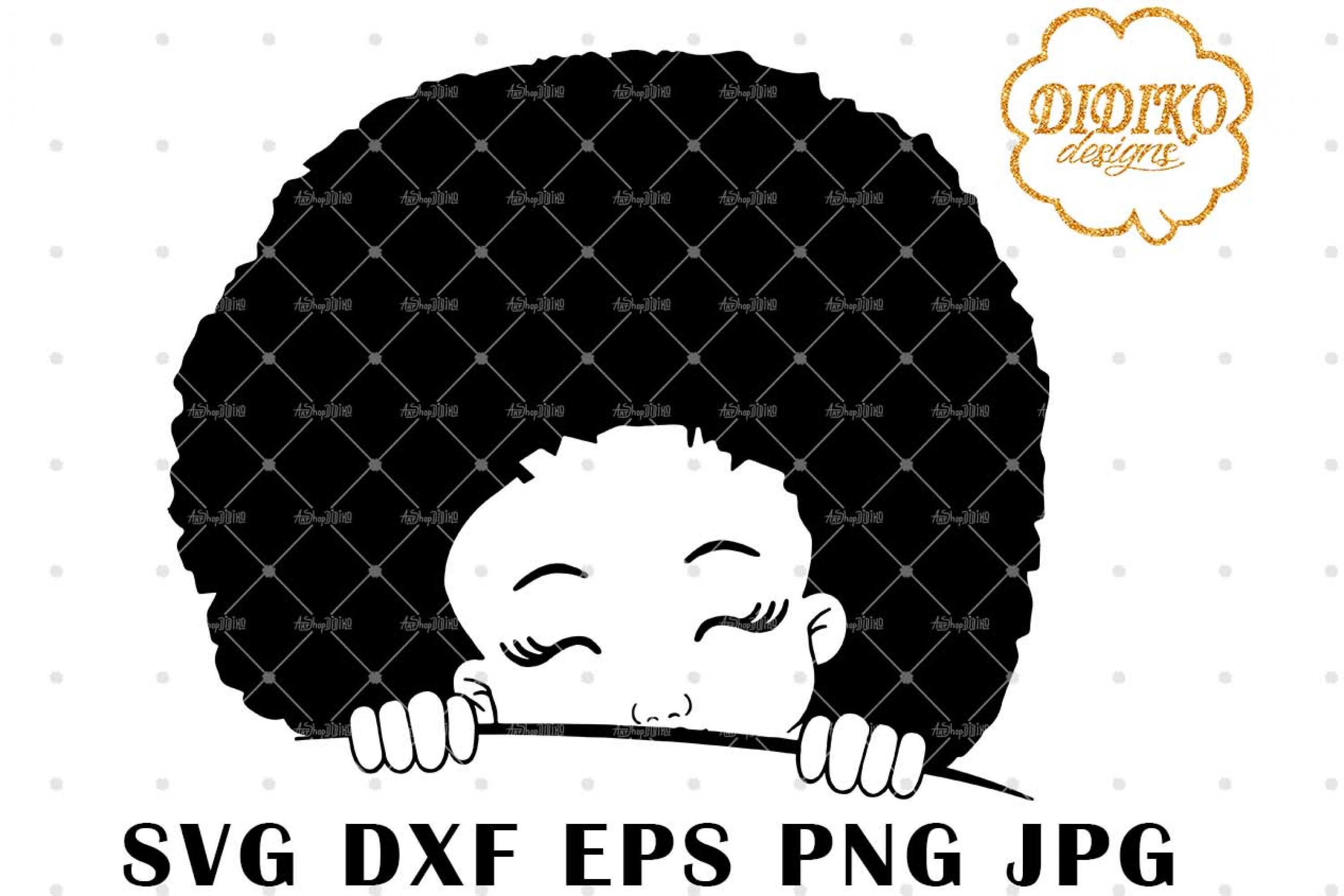 Afro Girl Peek A Boo 7 SVG, Afro Girl Silhouette SVG