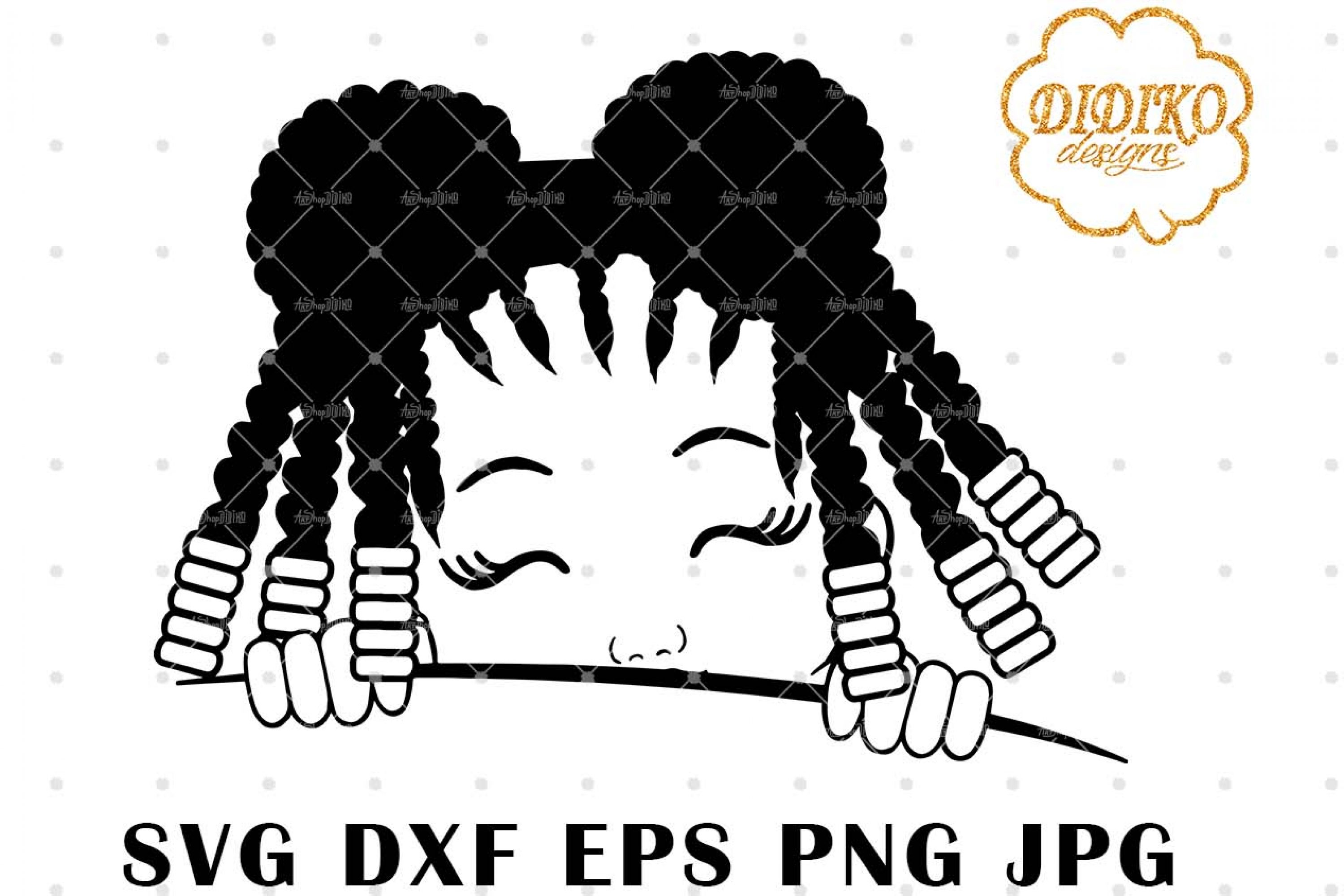 Afro Girl Peek A Boo 8 SVG, Afro Girl Silhouette SVG