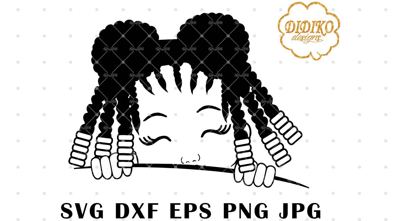 DIDIKO designs Afro Girl Silhouette Peek a Boo SVG