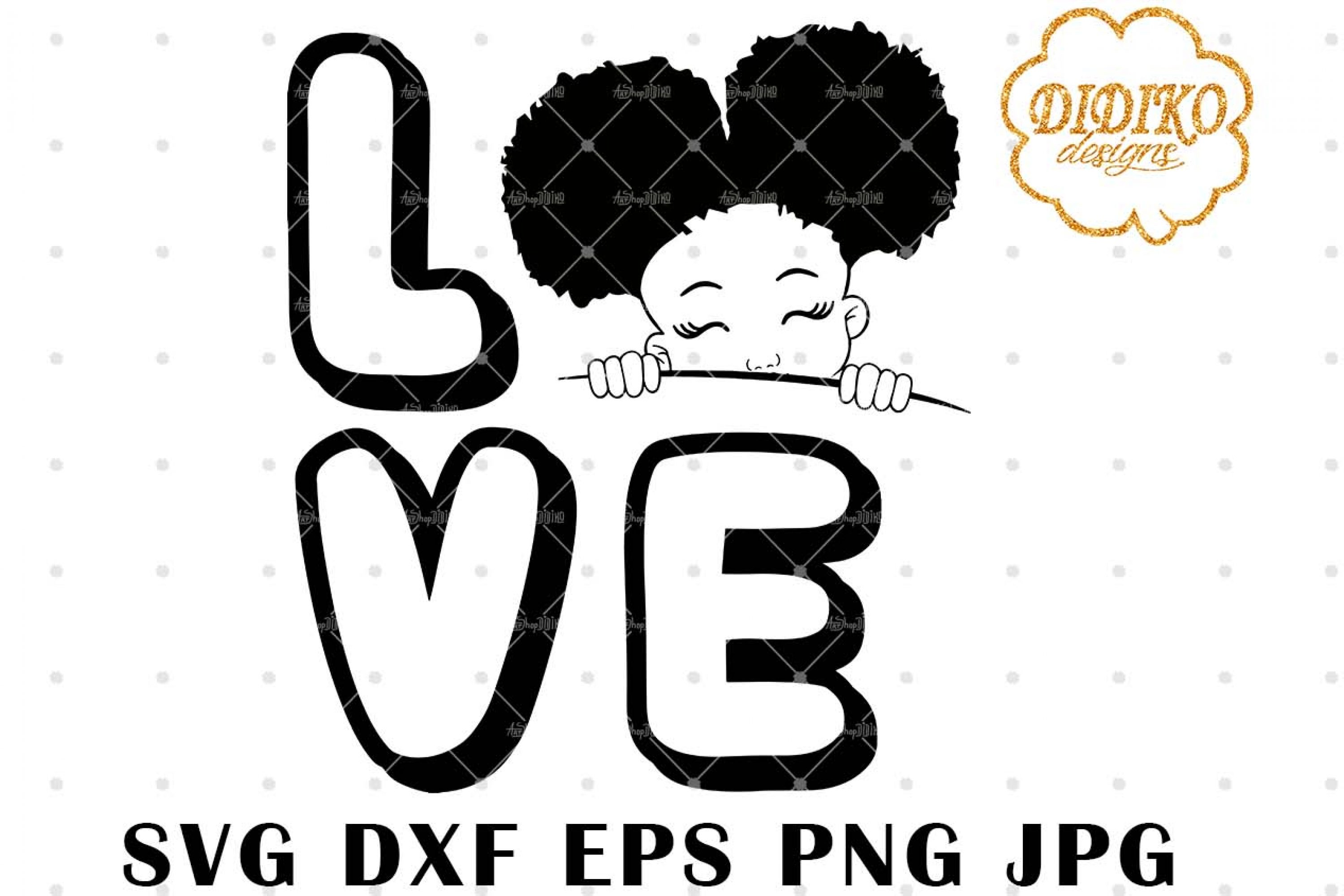 Afro Love Girl Peek A Boo 5 svg, Afro Girl Silhouette svg