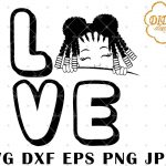 Afro Love Girl Peek A Boo 8 svg, Afro Girl Silhouette svg