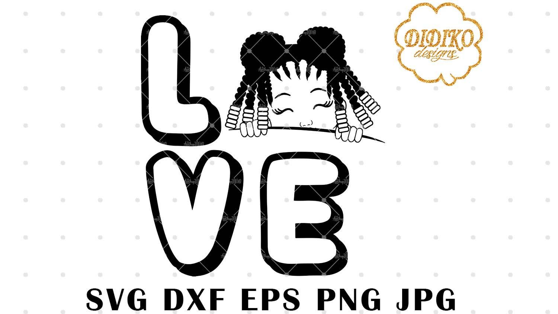 DIDIKO designs Afro Girl Silhouette LOVE Peek a Boo SVG