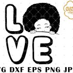 Afro Love Girl Peek A Boo 7 svg, Afro Girl Silhouette svg