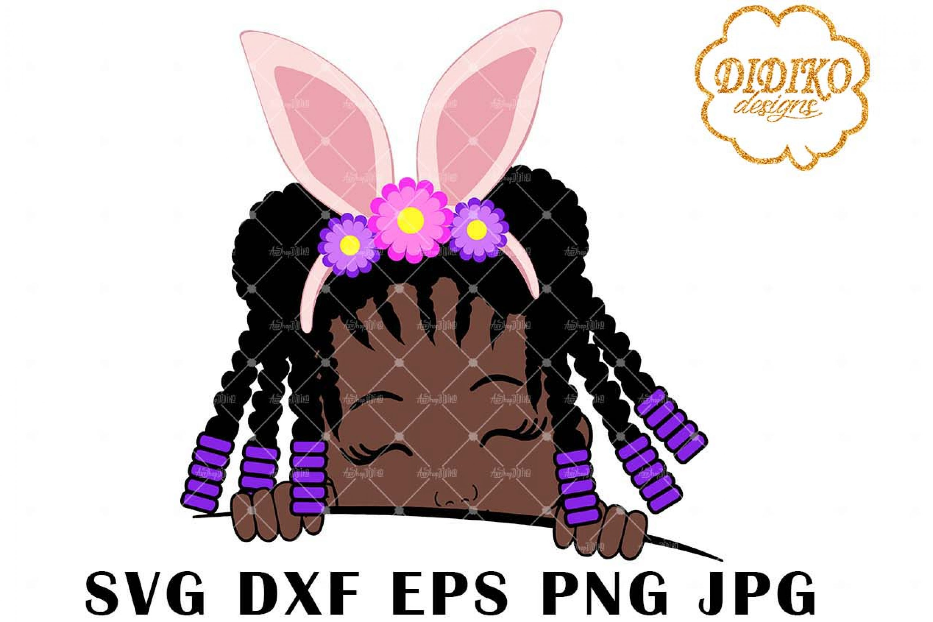 Afro Easter Girl Peek A Boo 4 SVG, Afro Puff SVG