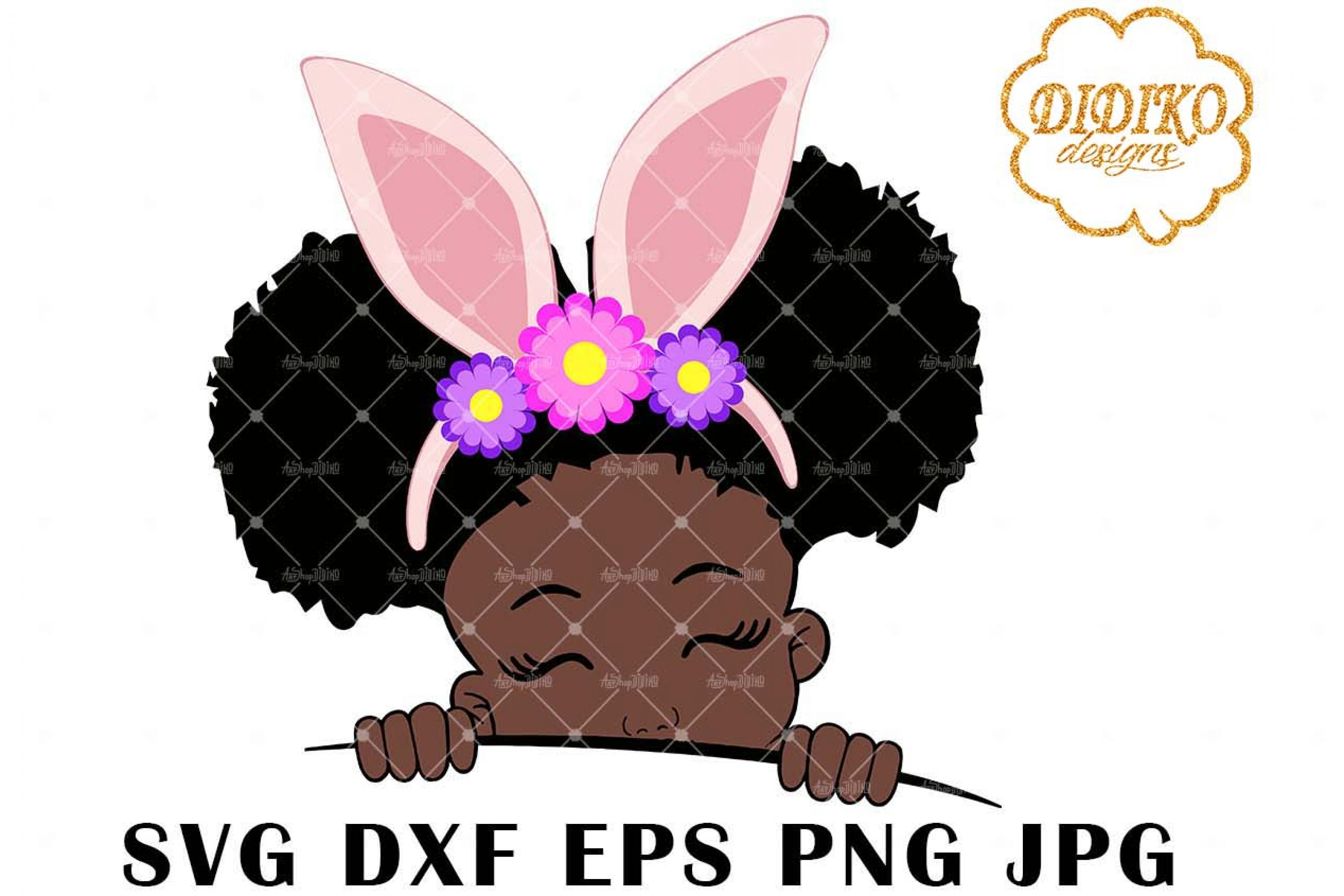 Afro Easter Girl Peek A Boo 1 SVG, Afro Puff SVG