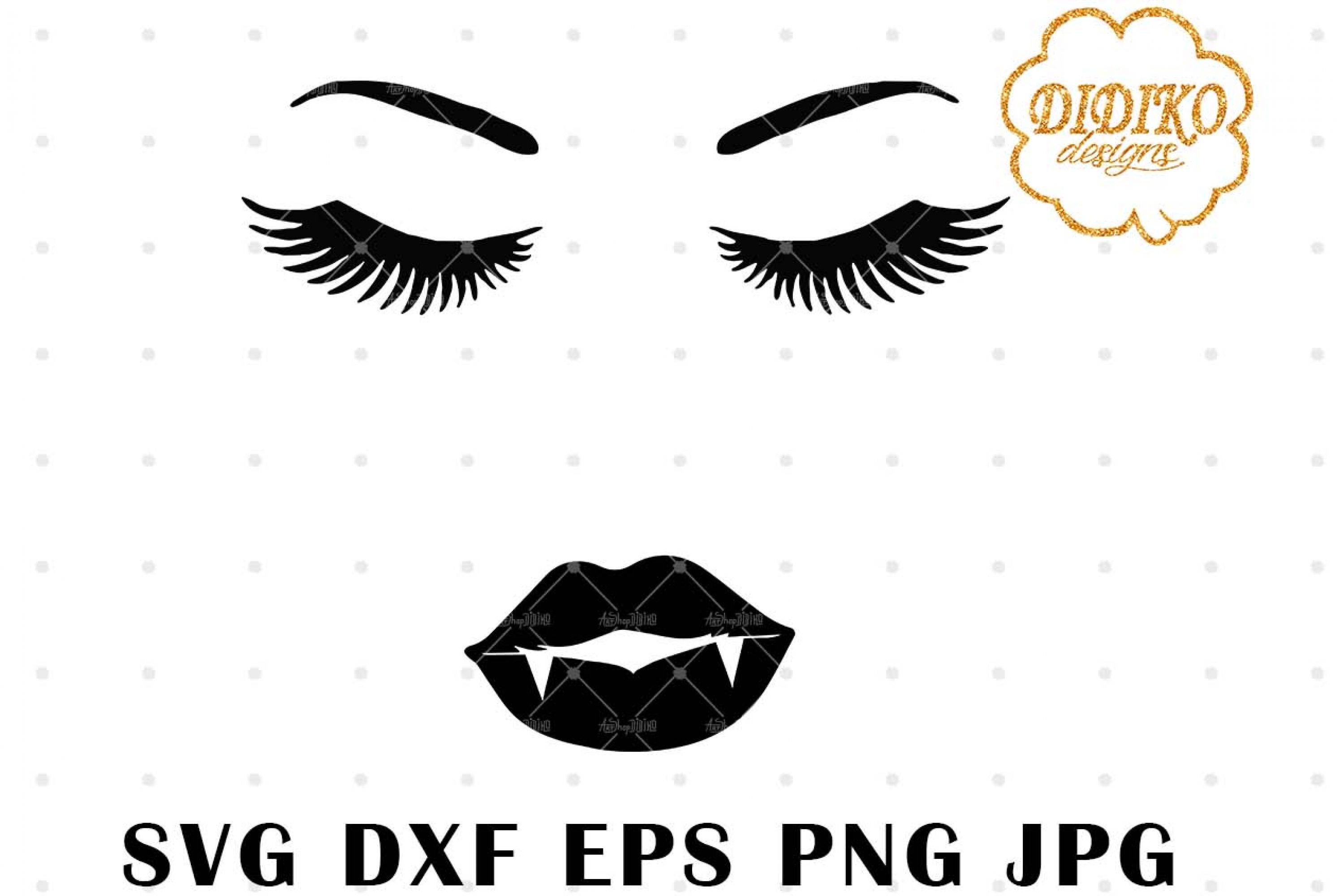 Woman Face Vampire Lips SVG, Halloween SVG