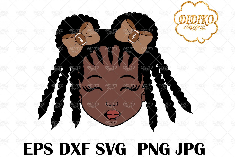 Football Afro Girl SVG 2, Football Sister SVG, Bows Svg