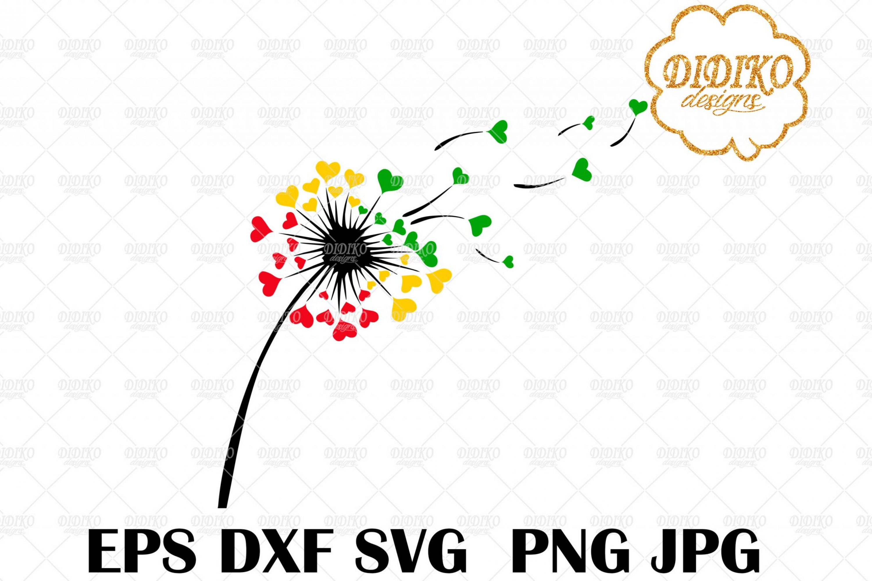 Dandelion Love SVG #3, Rasta SVG, Valentine's Day SVG, Hearts SVG, Cricut File
