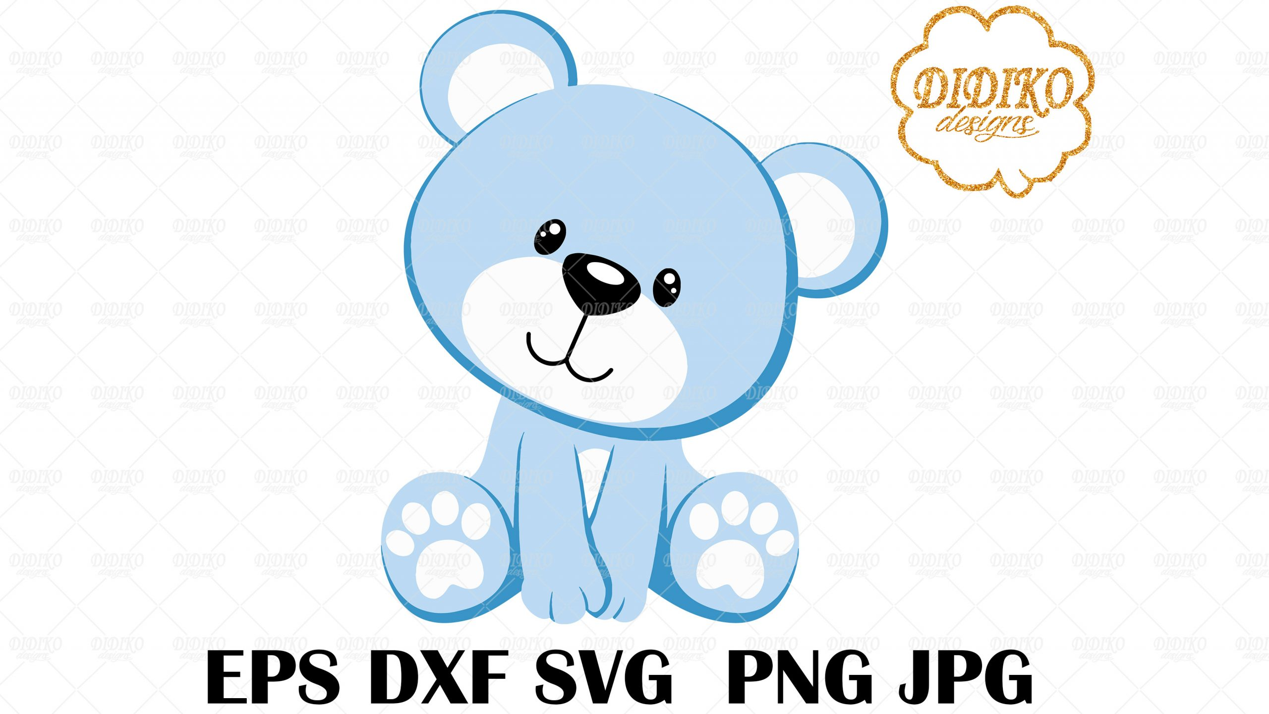 Teddy Bear Svg Baby Blue Bear Svg Bear Vector File Cricut File Silhoutte Didiko Designs