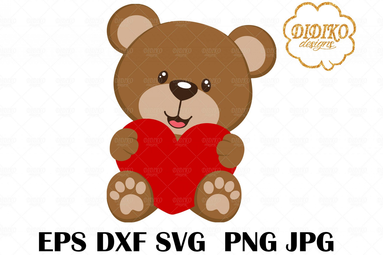 Valentine Teddy Bear SVG #1, Bear Heart SVG, Bear Vector File, Cricut File, Silhoutte
