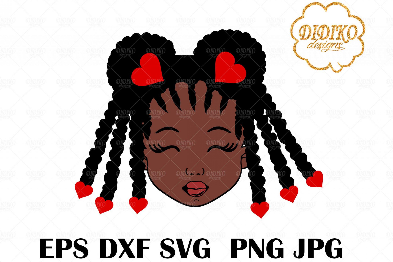 Valentine Black Girl SVG #2, Cute Afro Puff SVG, Cricut File, Silhoeutte, Cut File