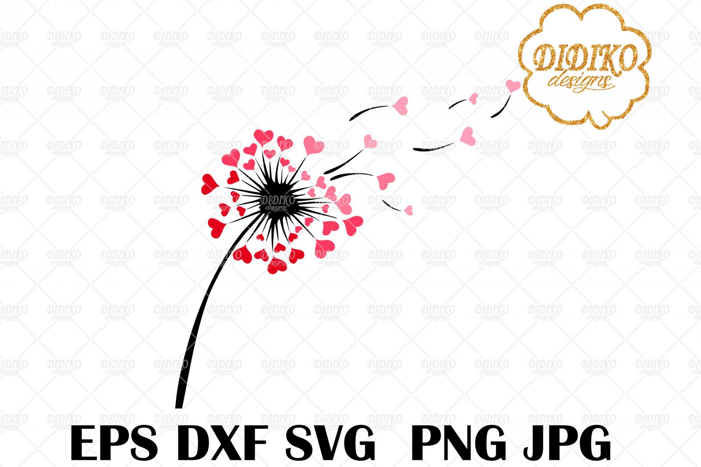 Dandelion Love SVG #2, Valentine's Day SVG, Hearts SVG, Cricut File