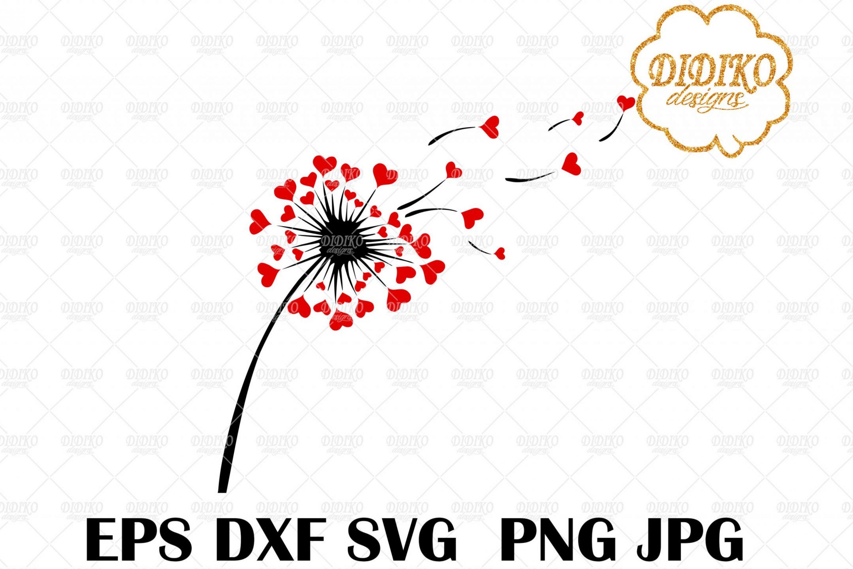Dandelion Love SVG, Valentine's Day SVG, Hearts SVG, Cricut File