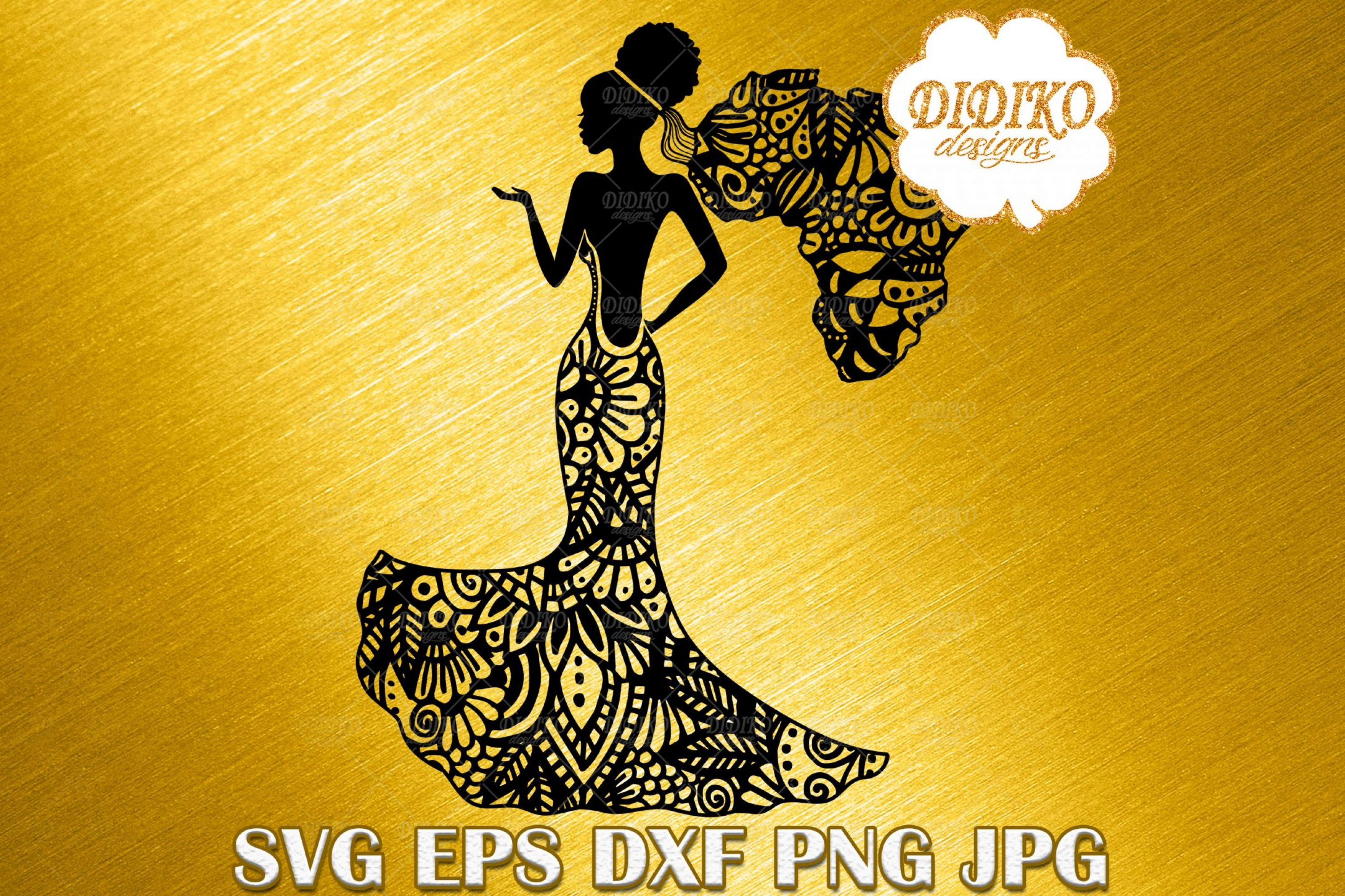 Afro Woman Bride SVG, African American Wedding SVG, Zentangle SVG, Africa SVG, DXF, EPS, PNG, JPG, Silhouette Files, Cricut Cut Files