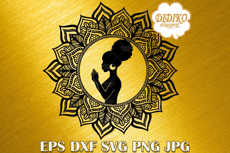 Black Woman Praying SVG #1, Mandala SVG, Black History SVG, Cricut File