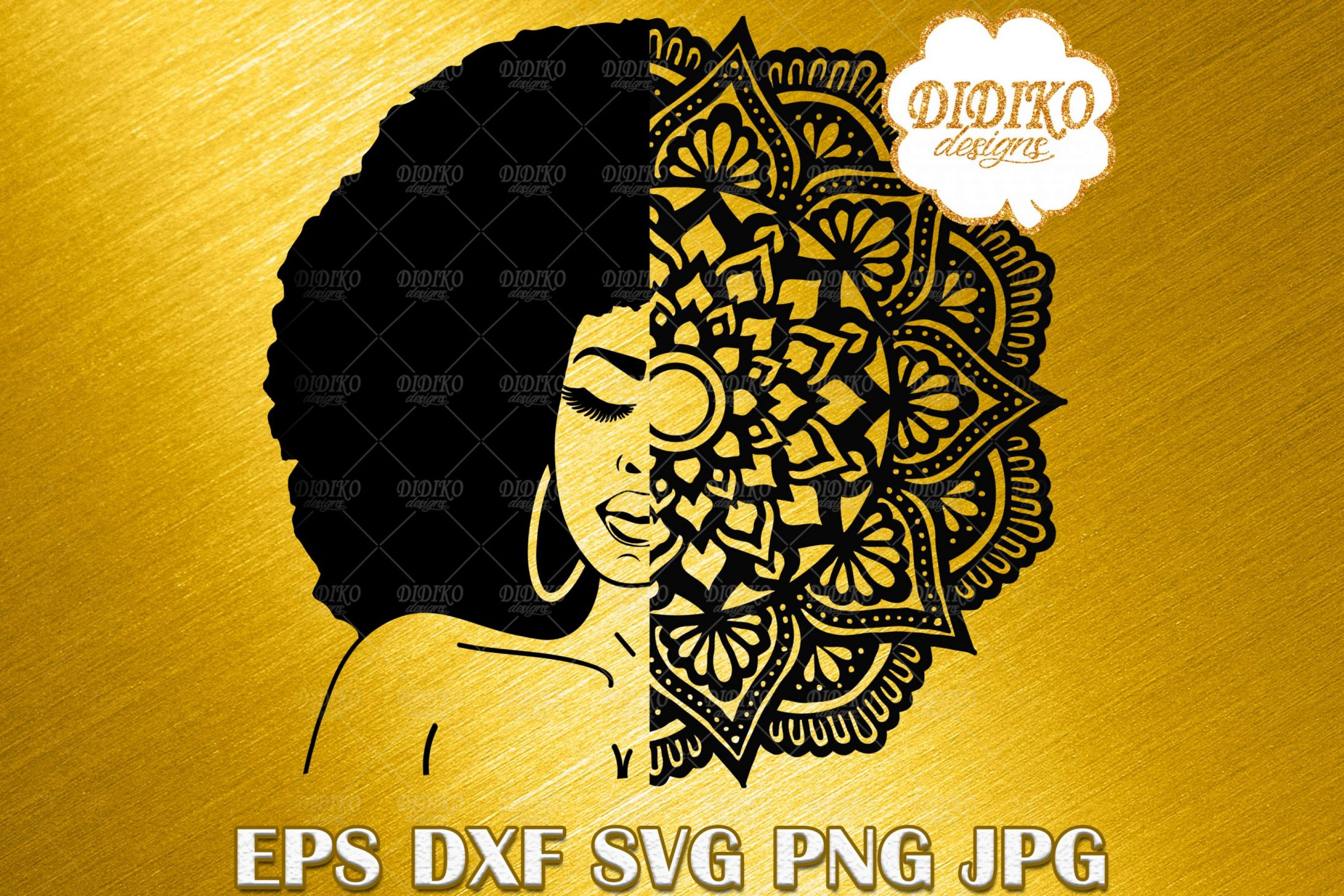 Afro Woman SVG #1, Mandala SVG, Black Woman SVG, Afro Woman Vector, Silhouette, Cricut File