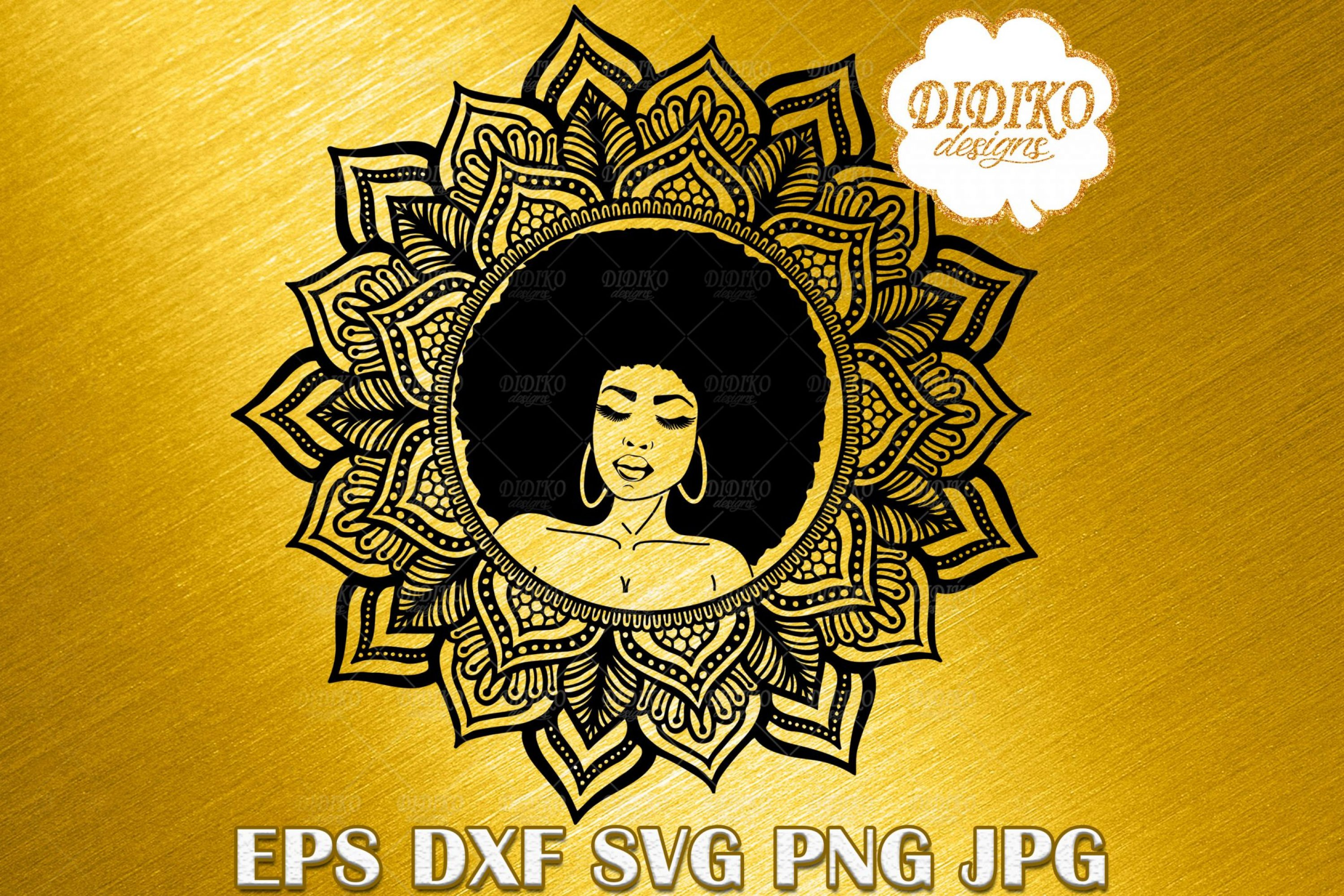 Afro Woman SVG #2, Mandala SVG, Black Woman SVG, Afro Woman Vector, Silhouette, Cricut File