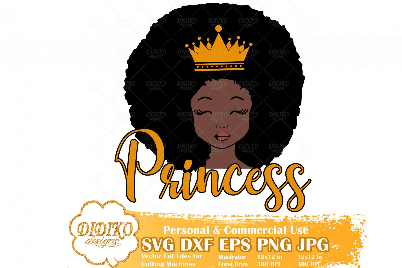 Black Girl SVG #23, Afro Princess SVG, Cute Afro Girl SVG, Afro Puff Girl SVG, Cricut File