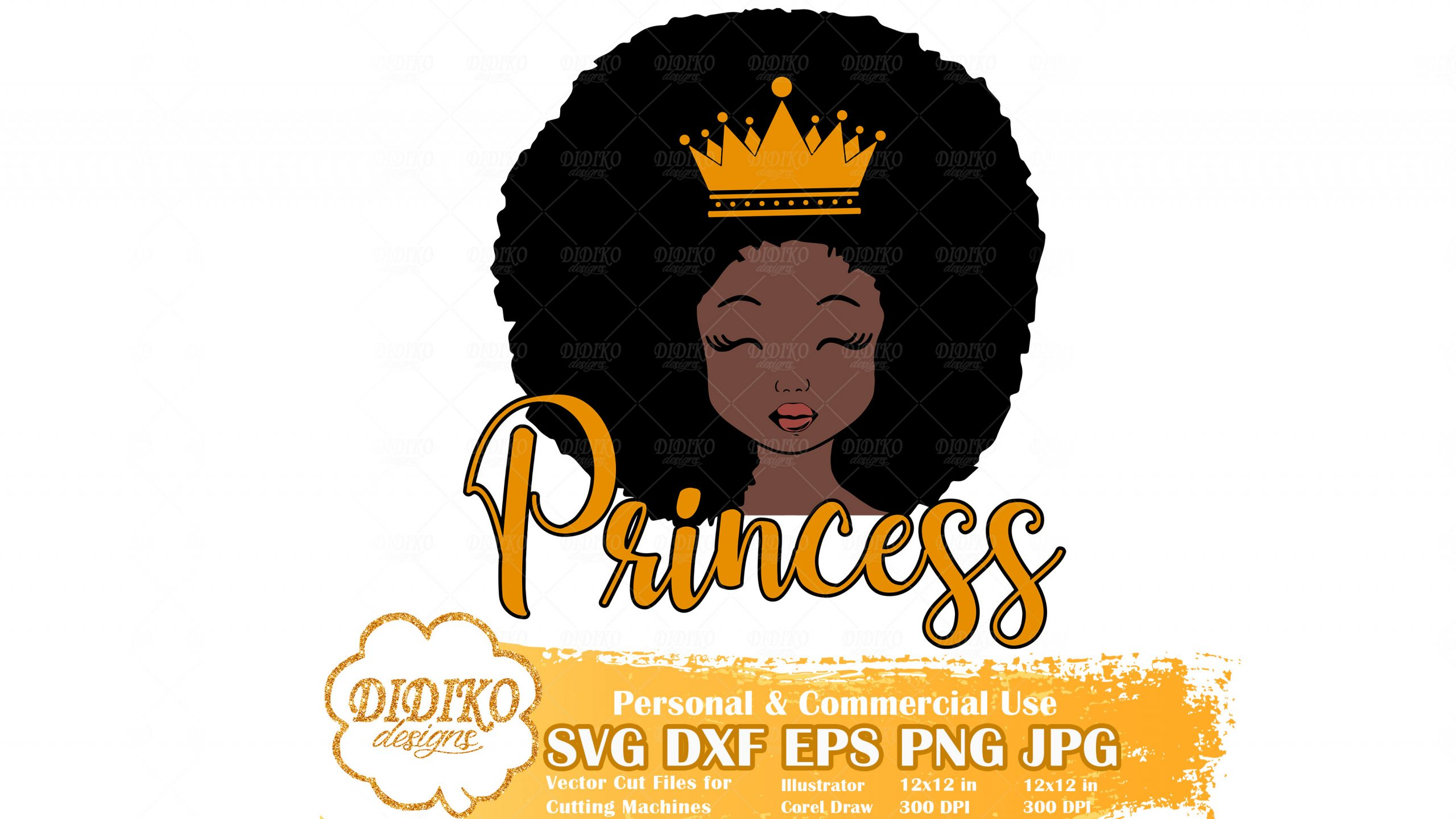 Black Girl Princess SVG