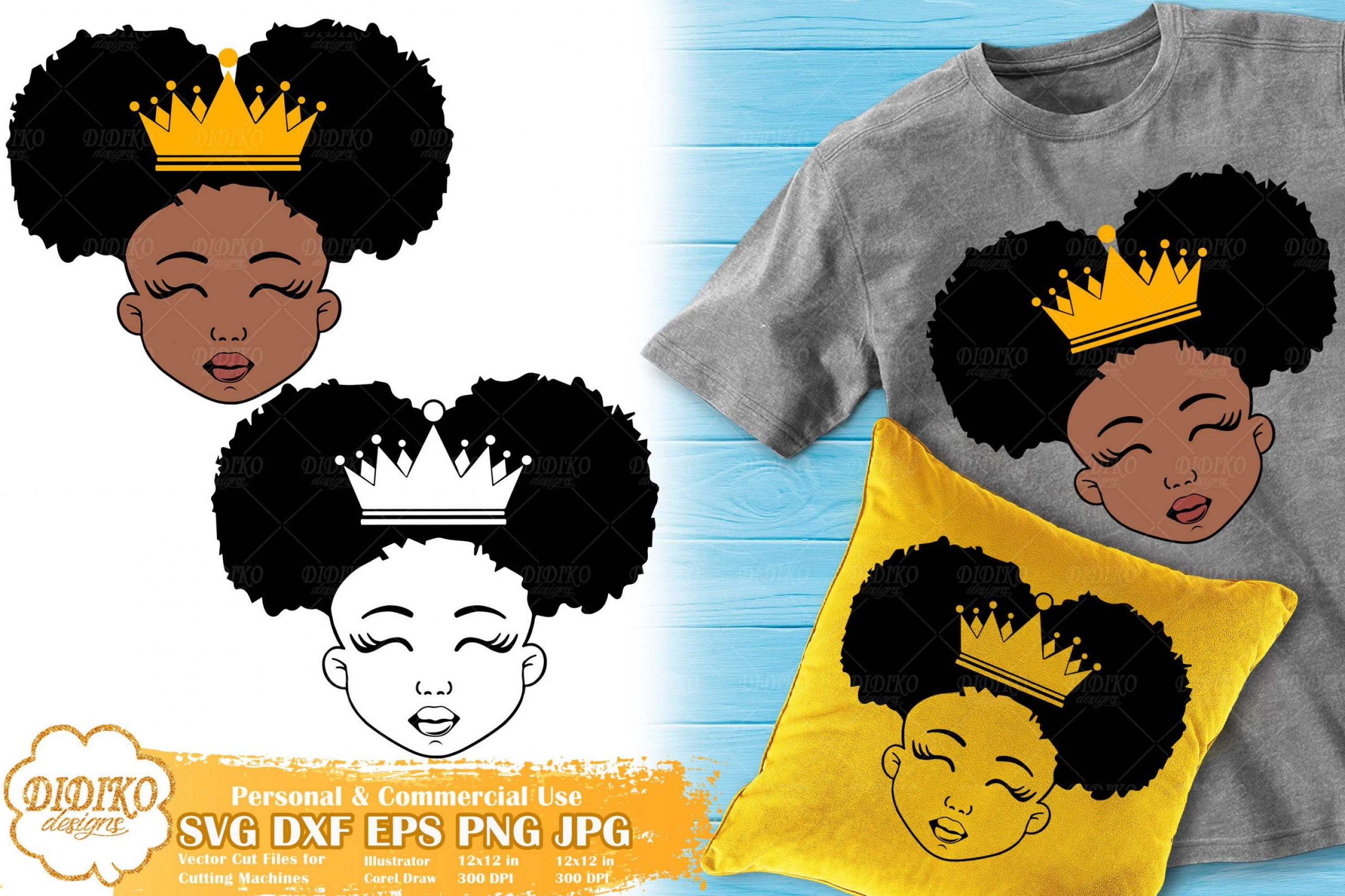 Black Princess SVG #1 | Afro Girl with Crown SVG