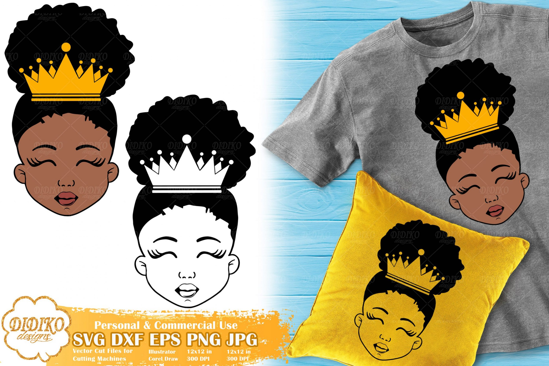Black Princess SVG #2   Afro Girl with Crown SVG