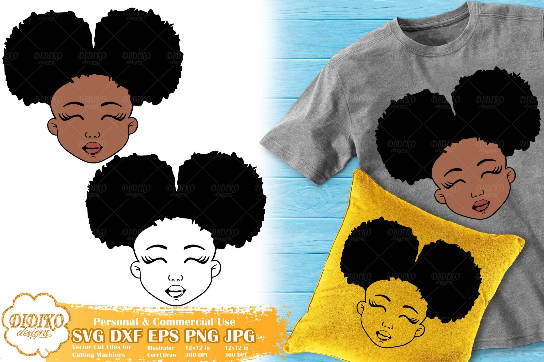 Black Girl SVG #1, Cute Afro Girl SVG, Silhouette Svg