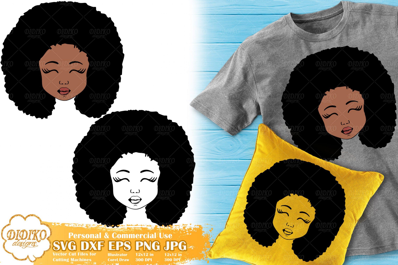 Black Girl SVG #3, Natural Hair Girl SVG, Silhouette Svg