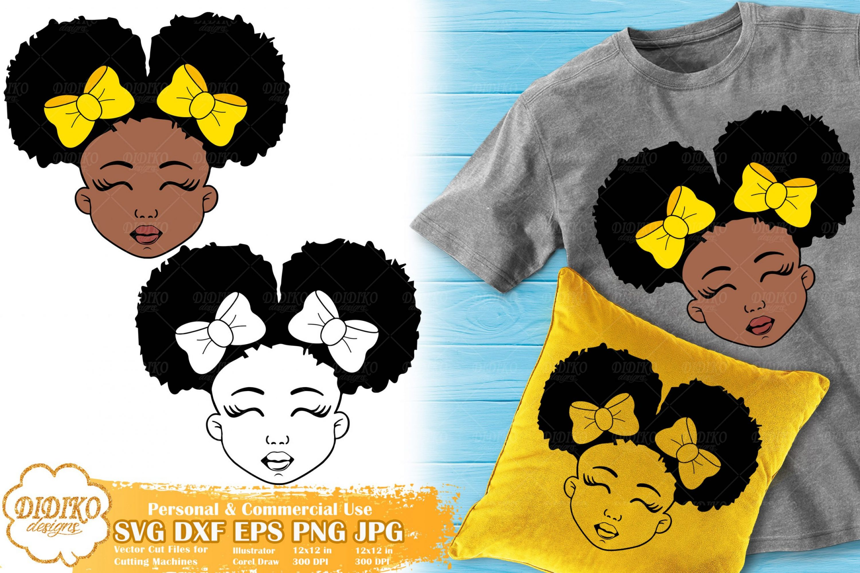Black Girl with Bows SVG #1 | Afro Girl Silhouette Svg