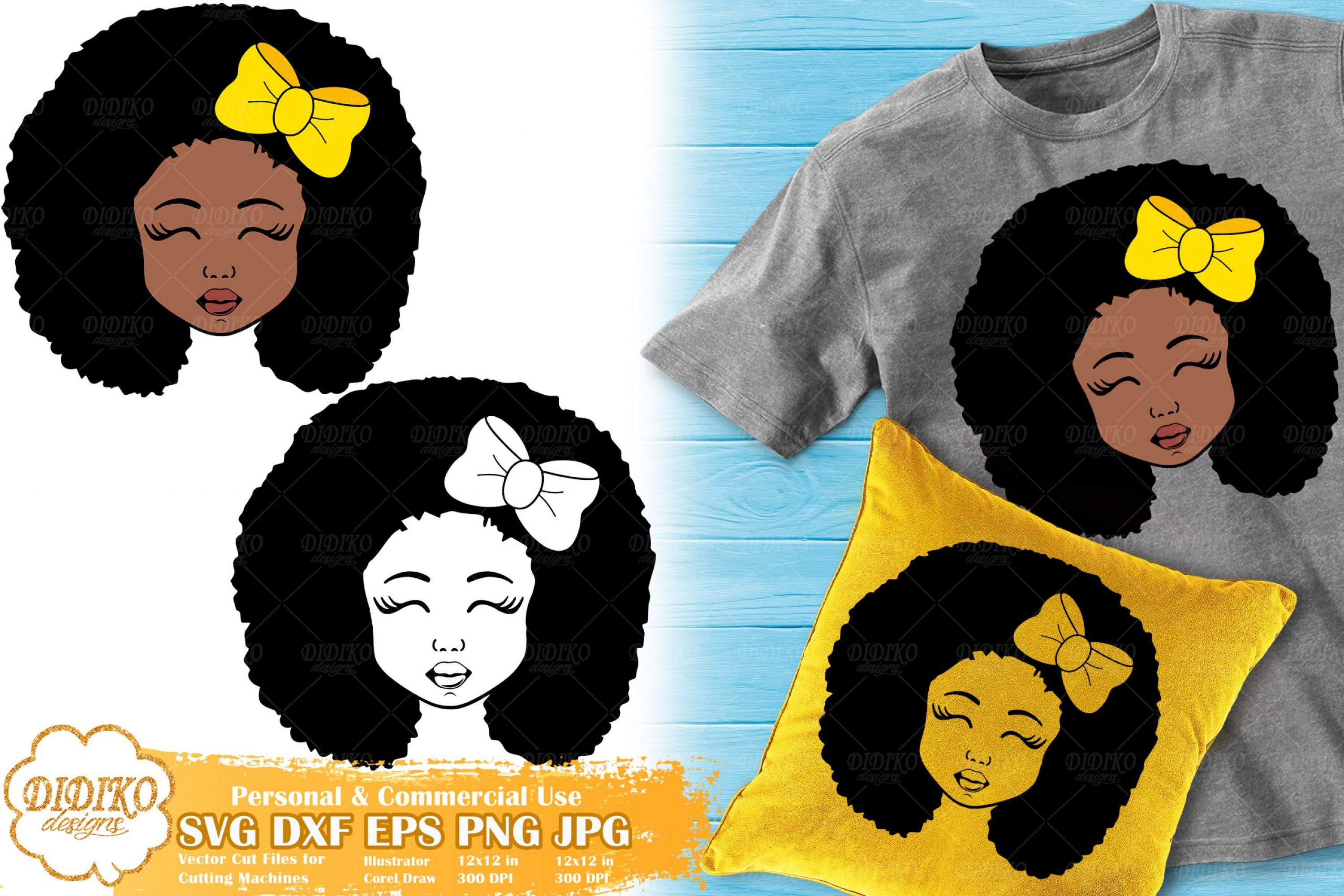 Black Girl with Bow SVG #3 | Afro Girl Silhouette Svg