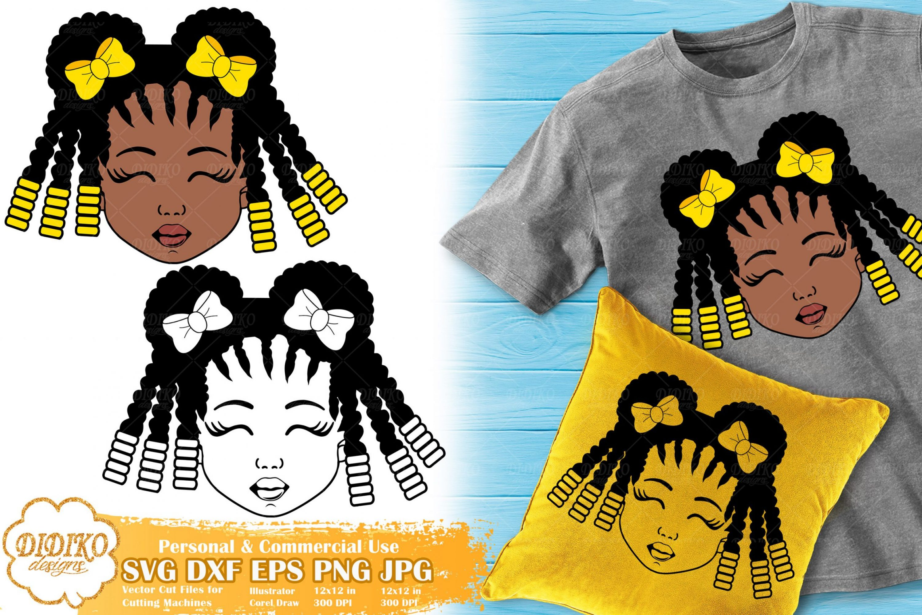 Black Girl with Bow SVG #4 | Afro Girl Silhouette Svg
