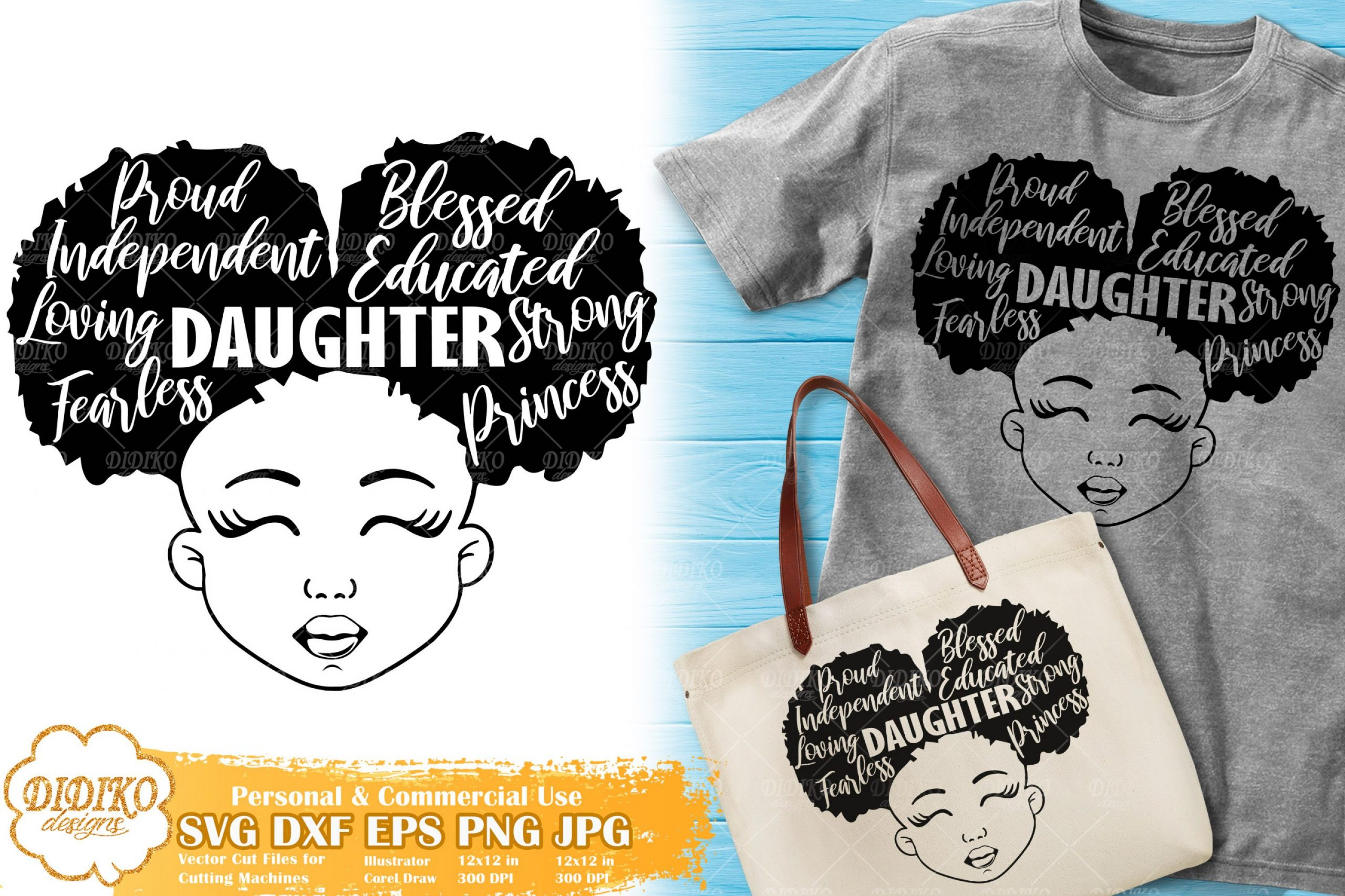 Black Girl with Words SVG #2 | Mother's Day SVG