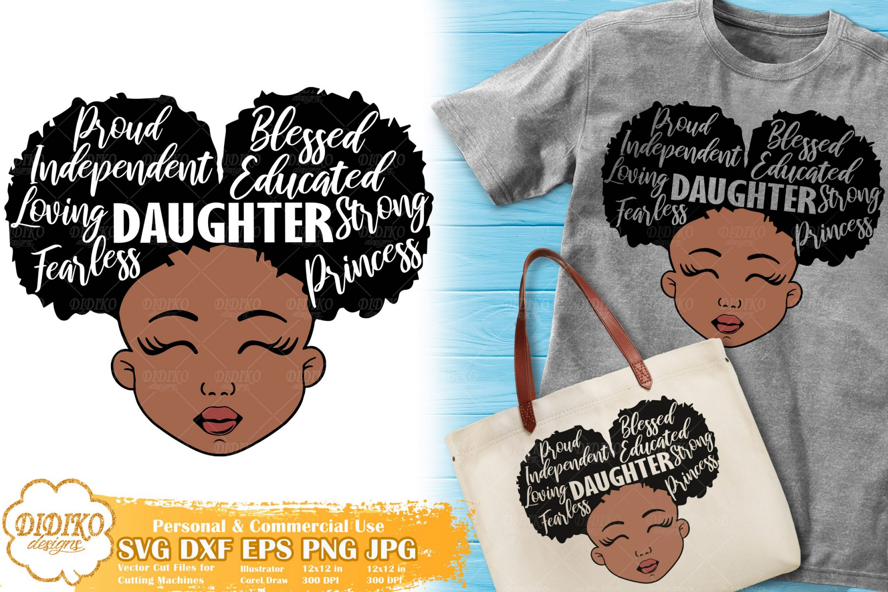 Black Girl with Words SVG #3 | Mother's Day SVG