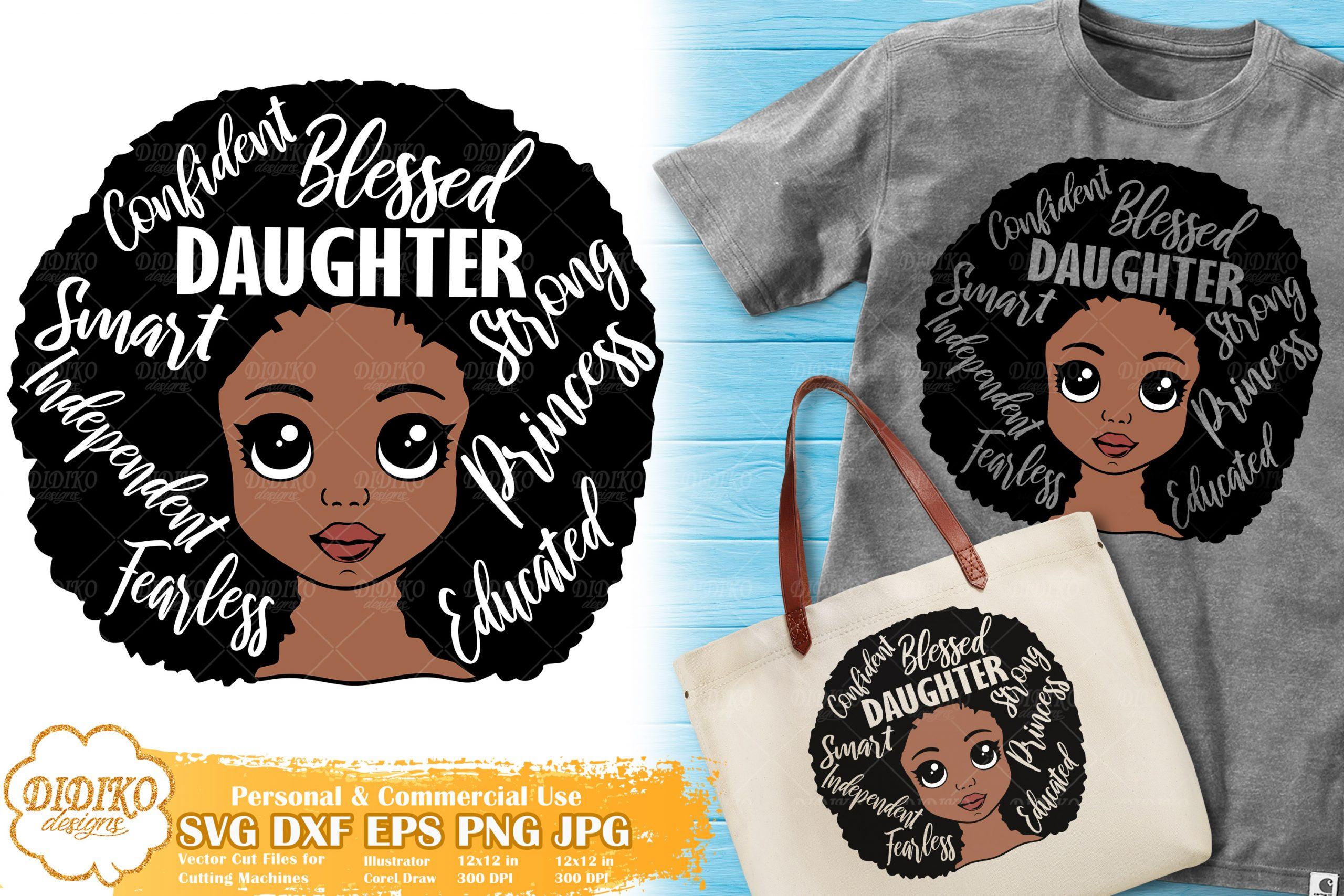 Black Girl with Words SVG #1