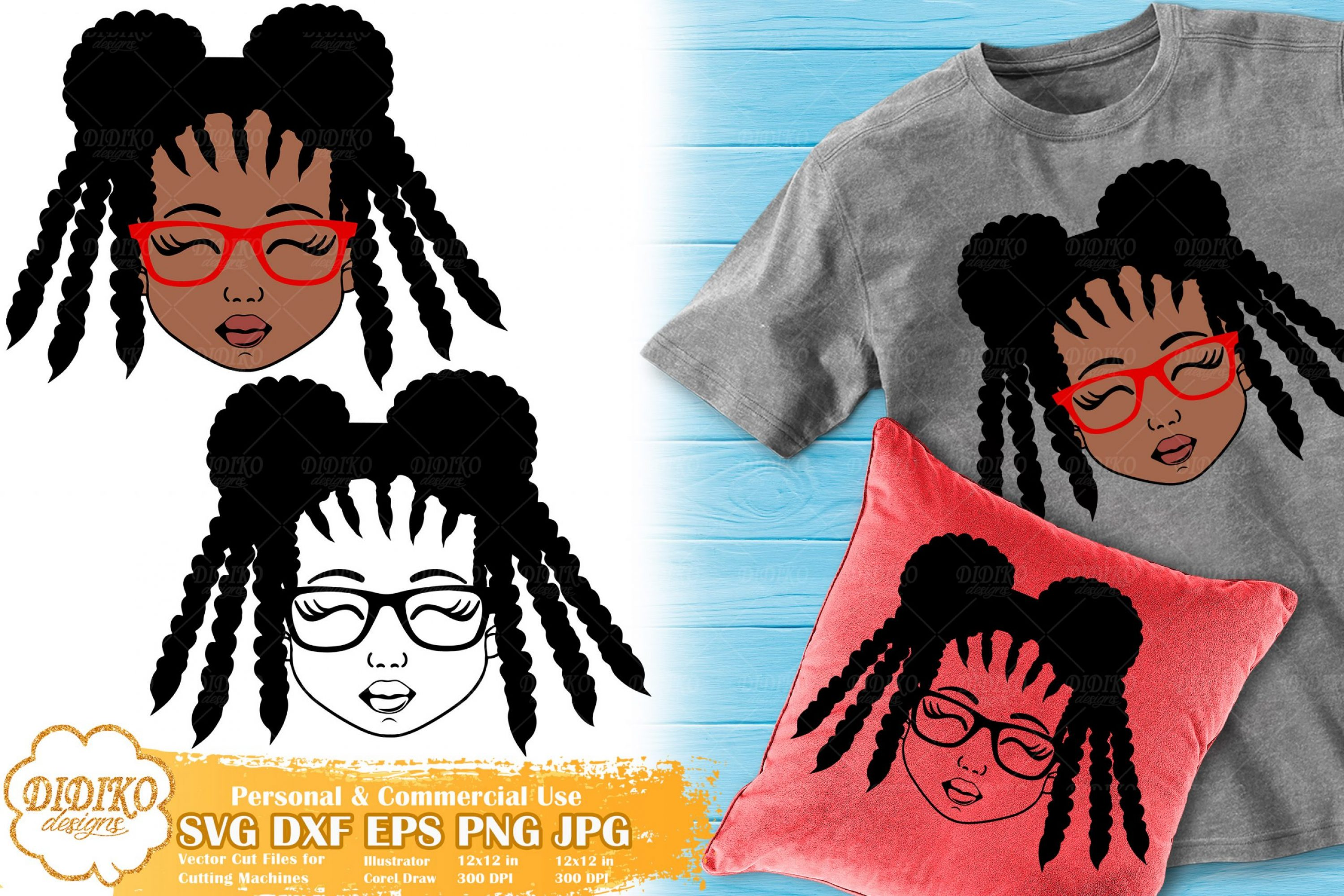 Black Girl with Glasses SVG #4 | Afro Girl Silhouette Svg