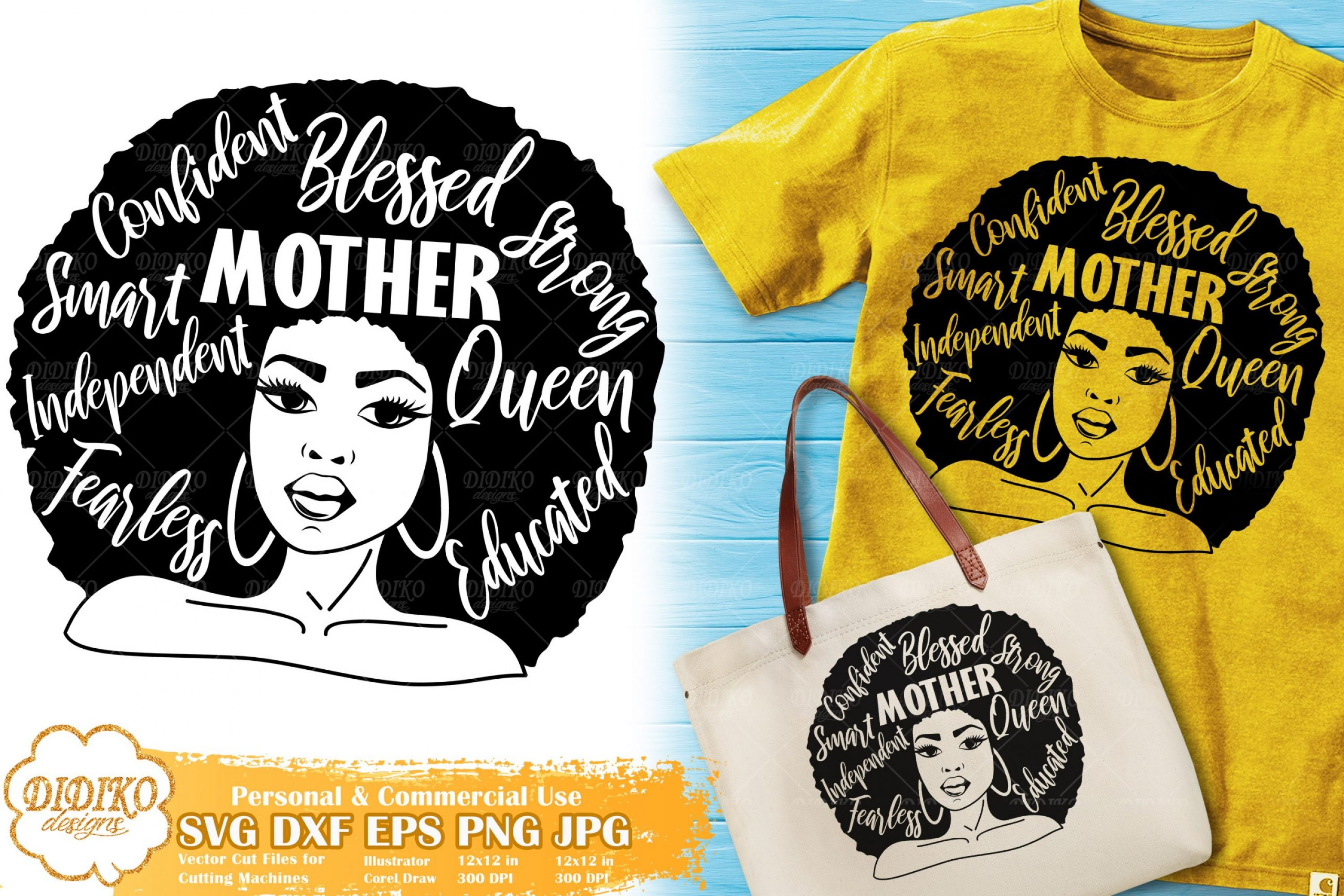 Black Woman with Words SVG #1   Mother's Day SVG