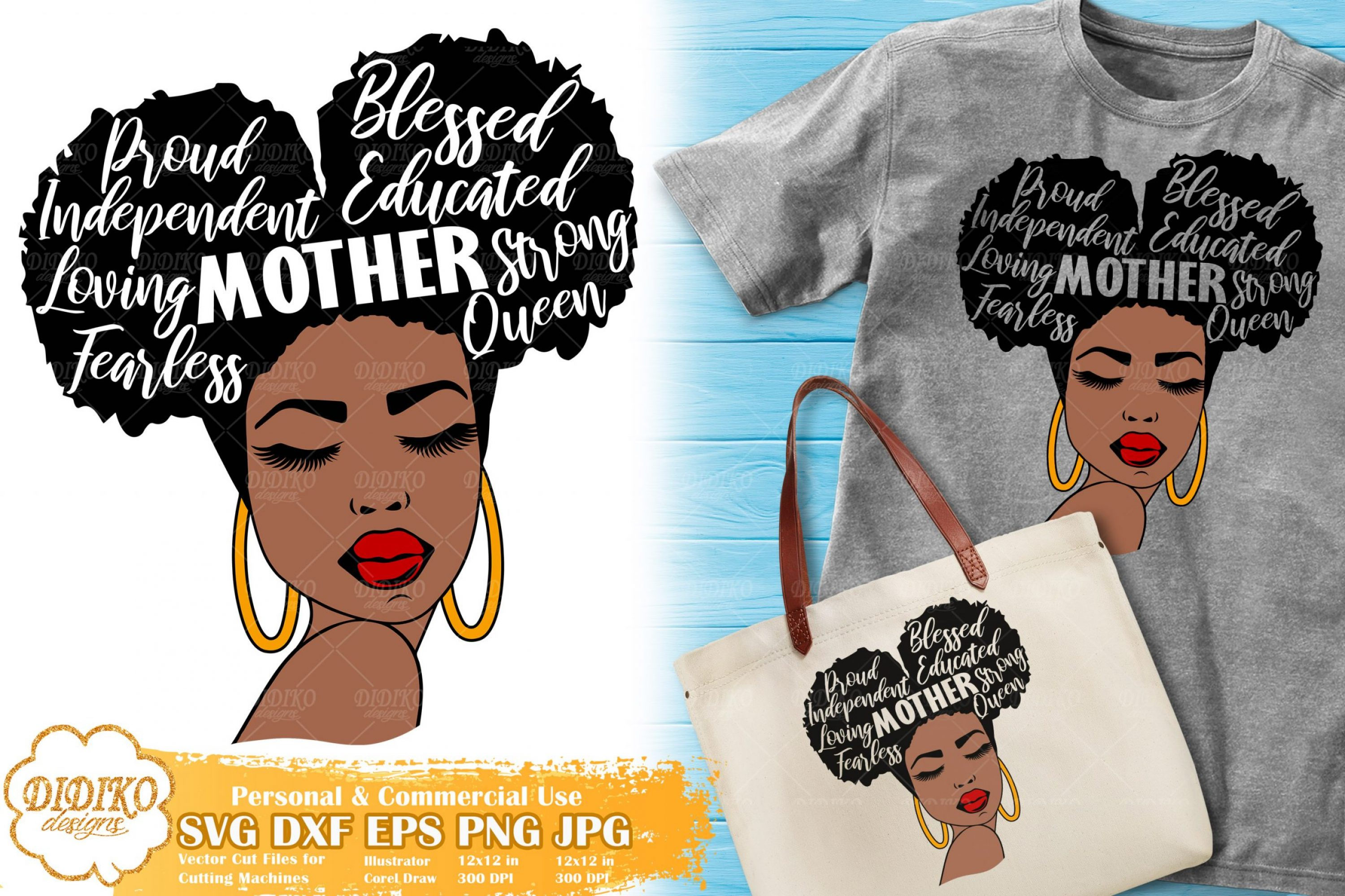 Black Woman with Words SVG #11 | Mother's Day SVG