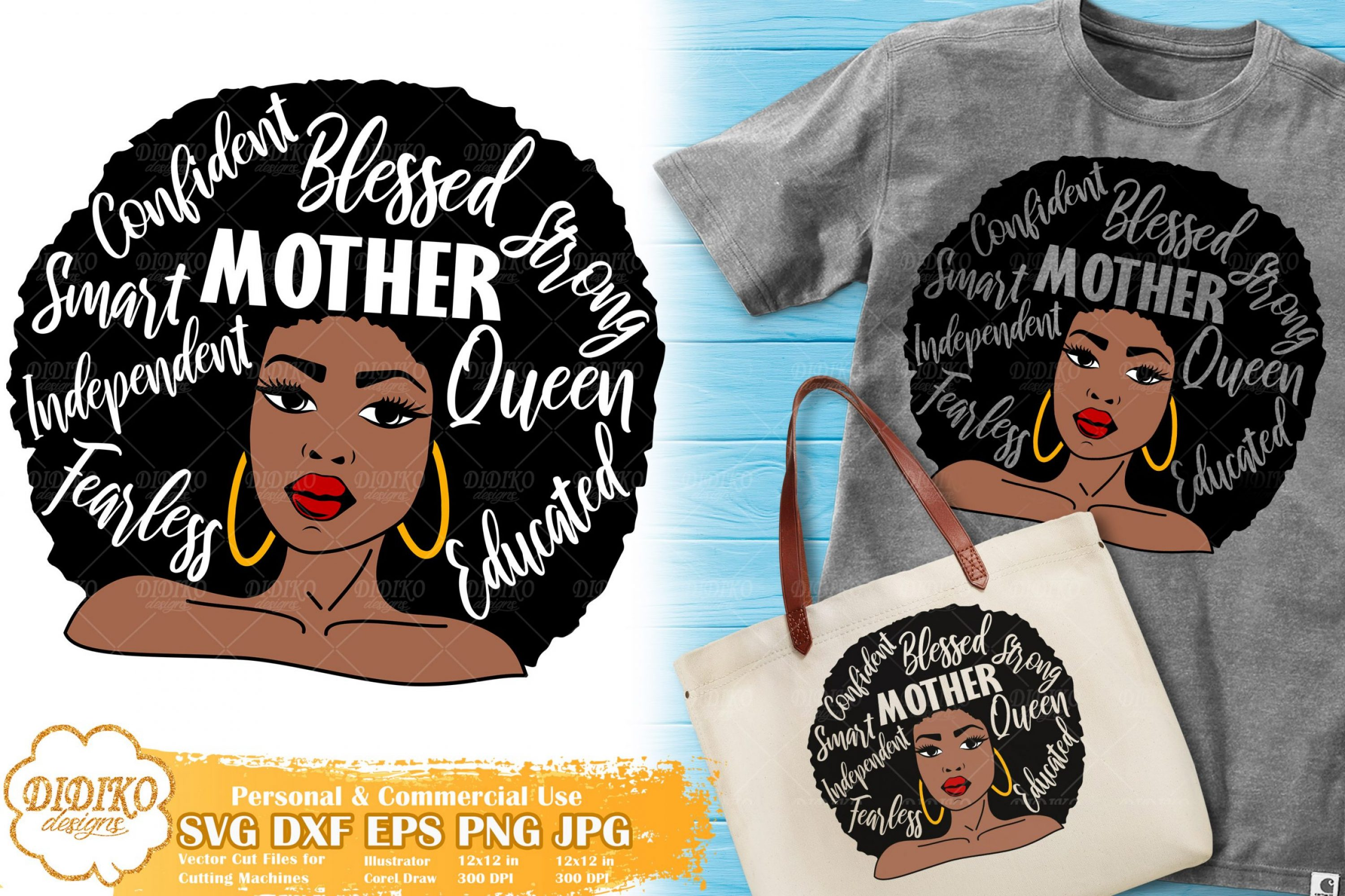 Black Woman with Words SVG   Mother's Day SVG