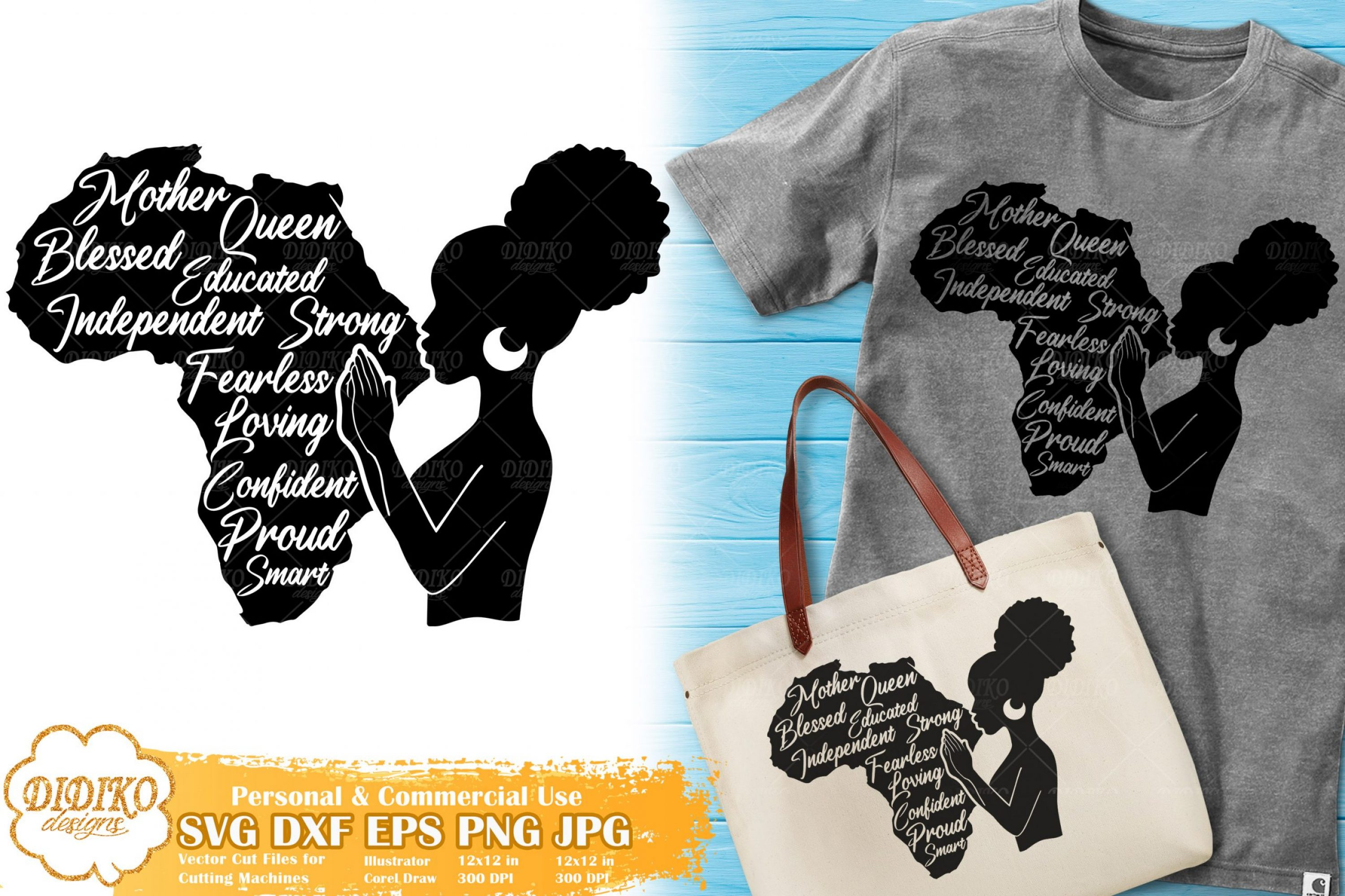 Black Woman with Words SVG #3   Mother's Day SVG