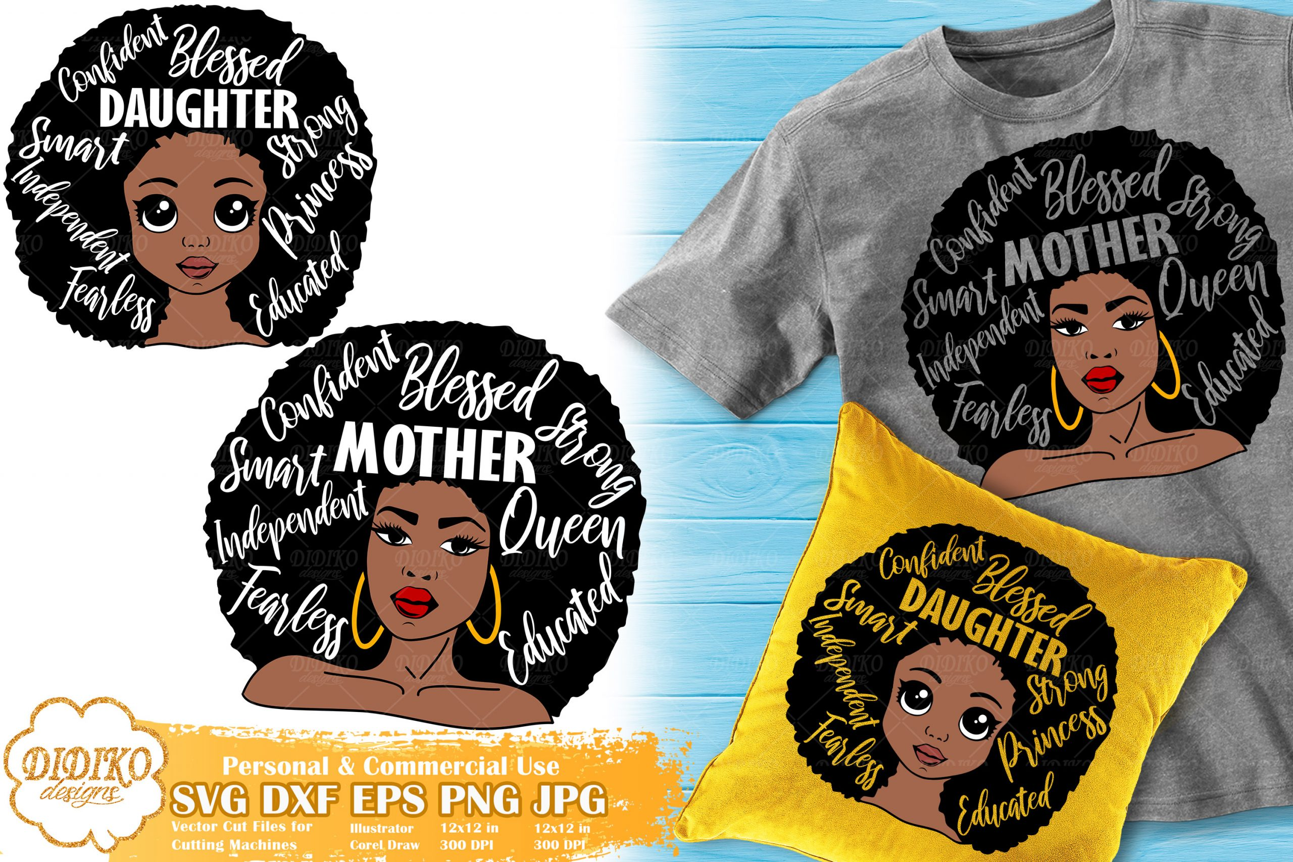 Black Woman with Words SVG #1