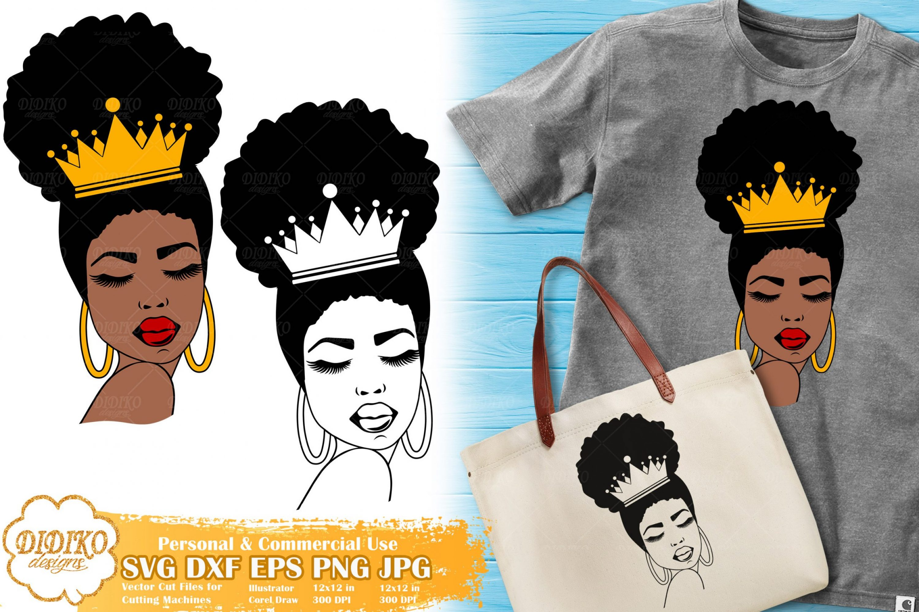 Black Queen SVG #1, Afro Woman with Crown SVG File