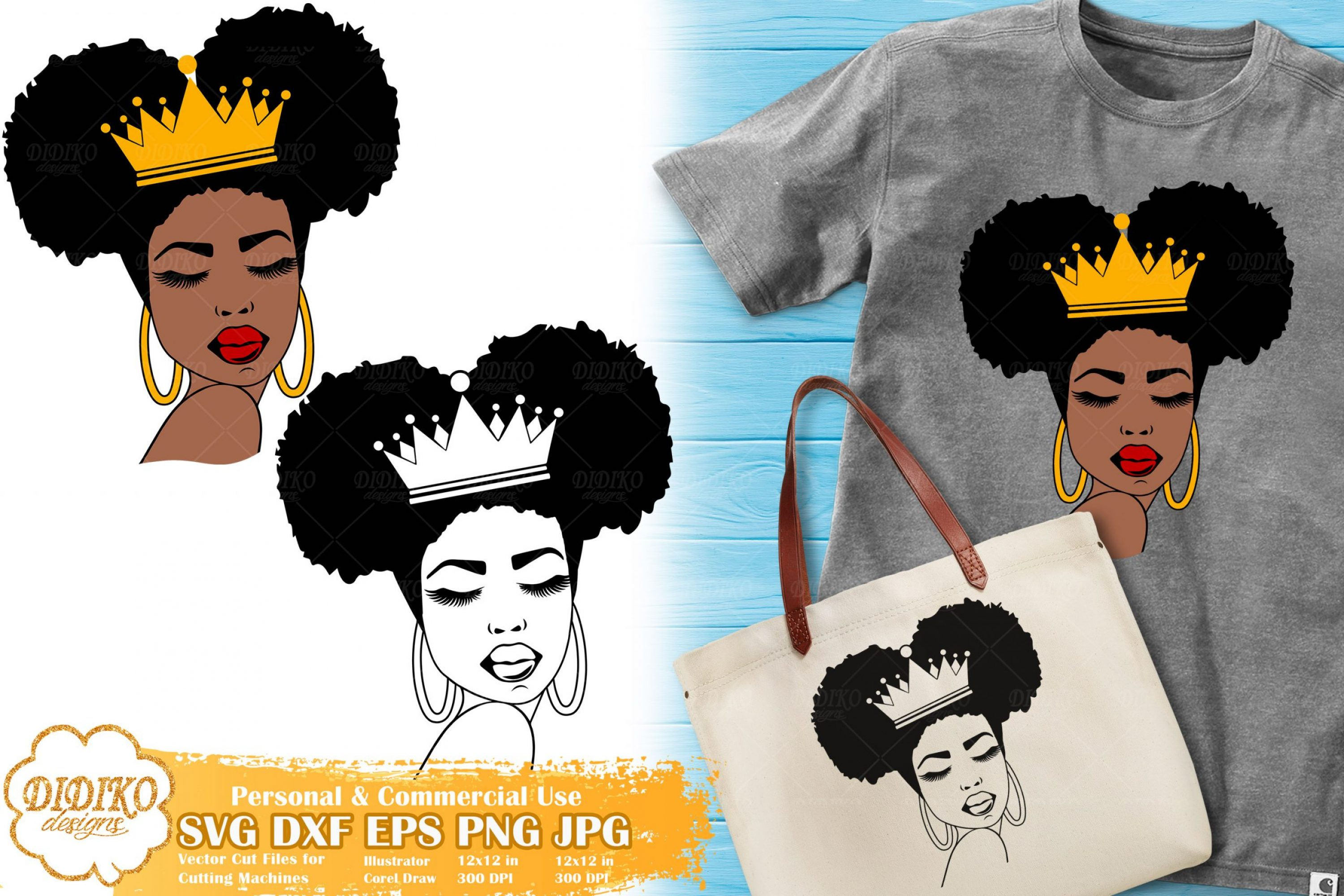 Black Queen SVG #3, Afro Woman with Crown SVG File