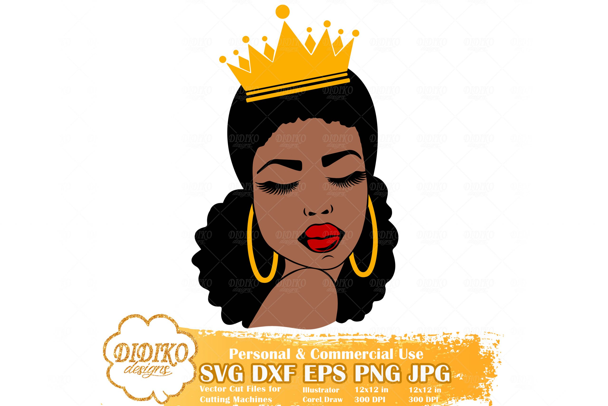 Download Black Queen SVG #2, Afro Woman with Crown SVG File ...